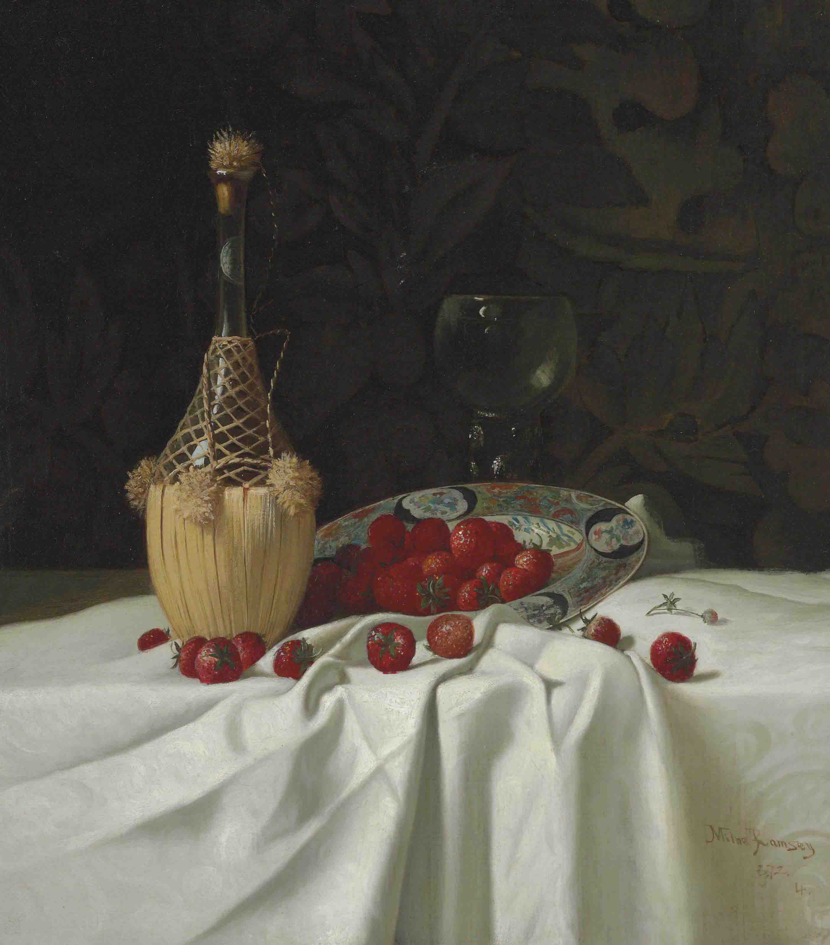 Still Life with Wine Bottle and Strawberries
