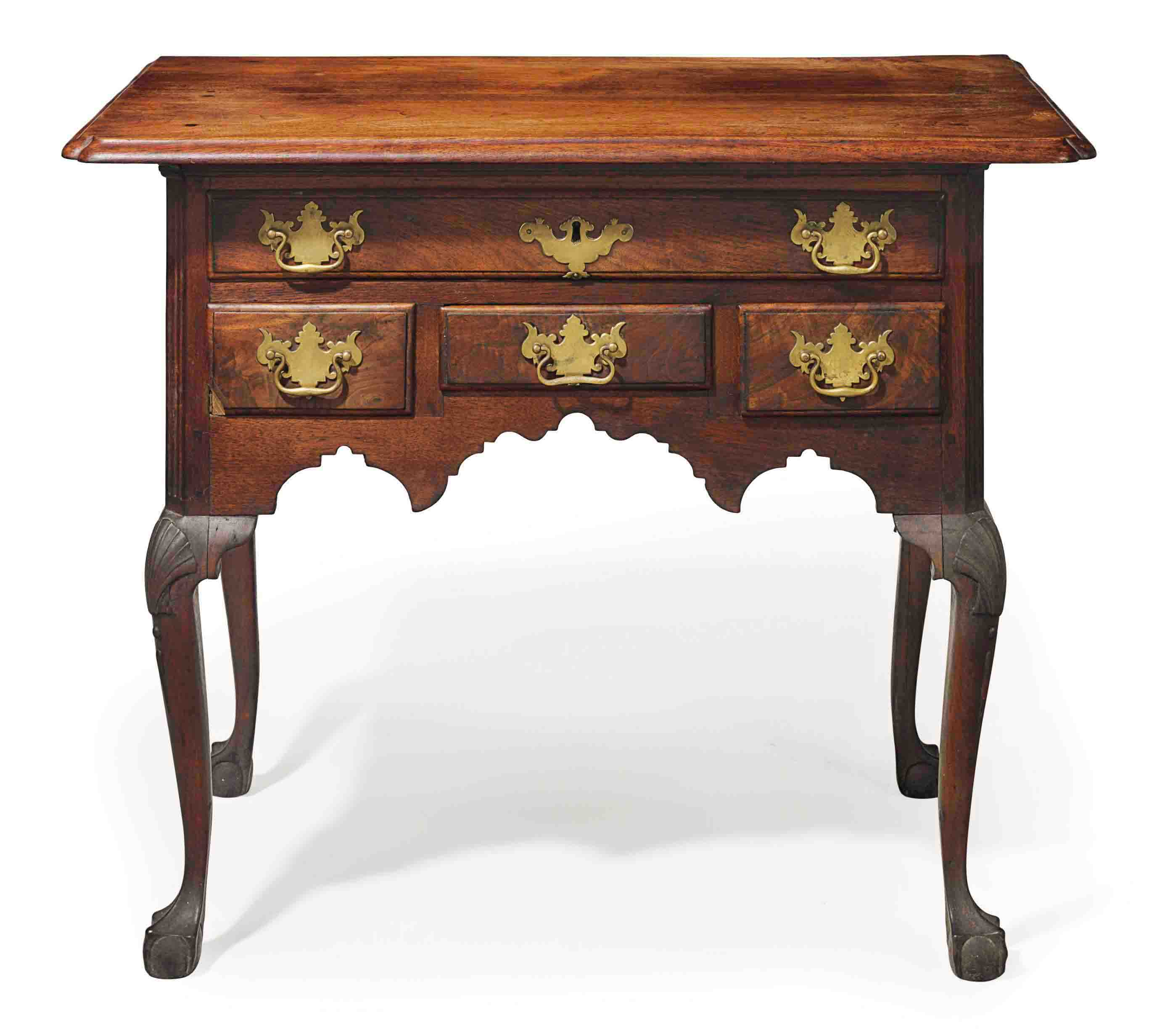 A Queen Anne Carved Walnut Dressing Table Delaware River