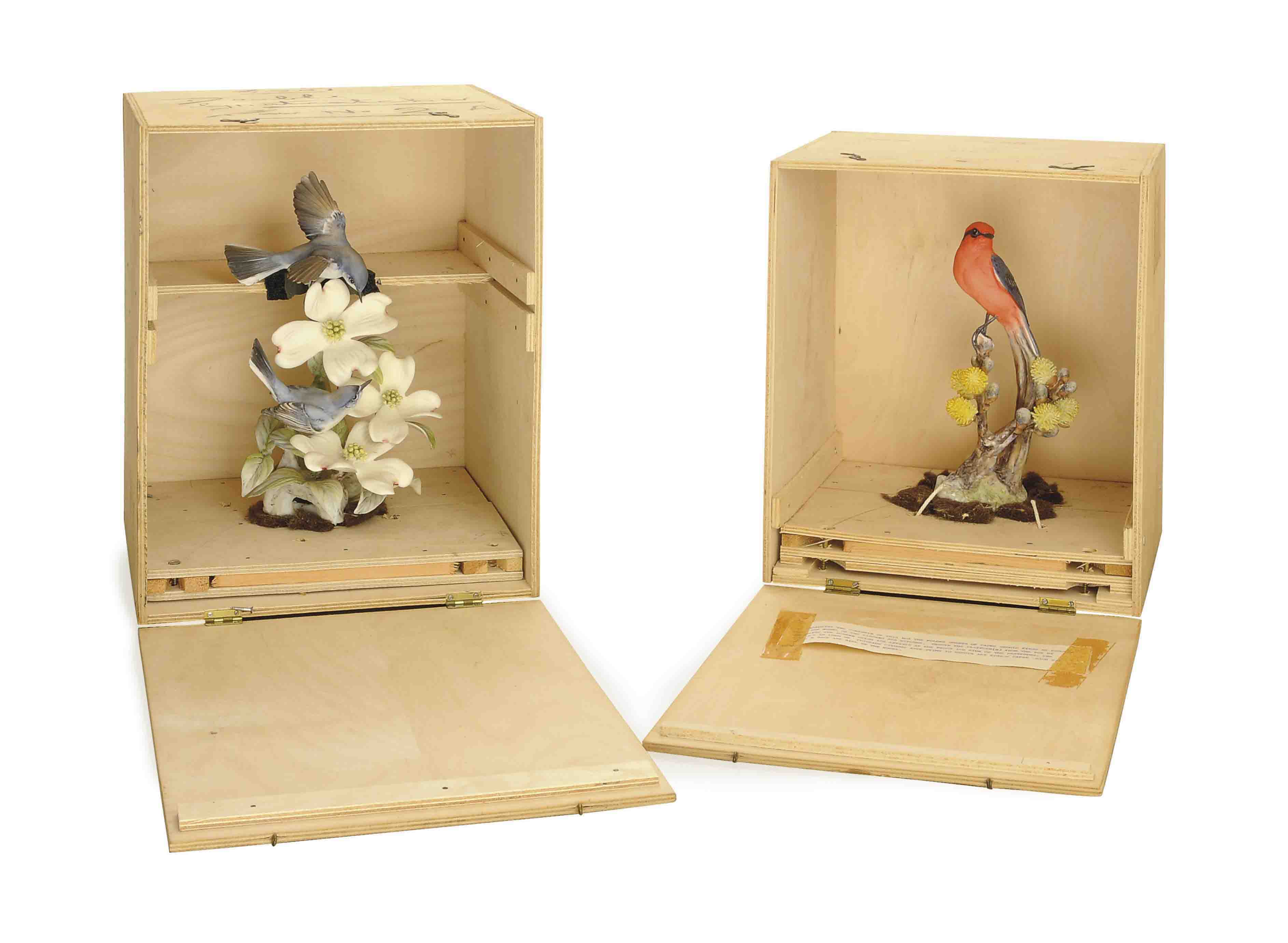 TWO PAIRS OF ENGLISH PAINTED PORCELAIN MODELS OF BIRDS,