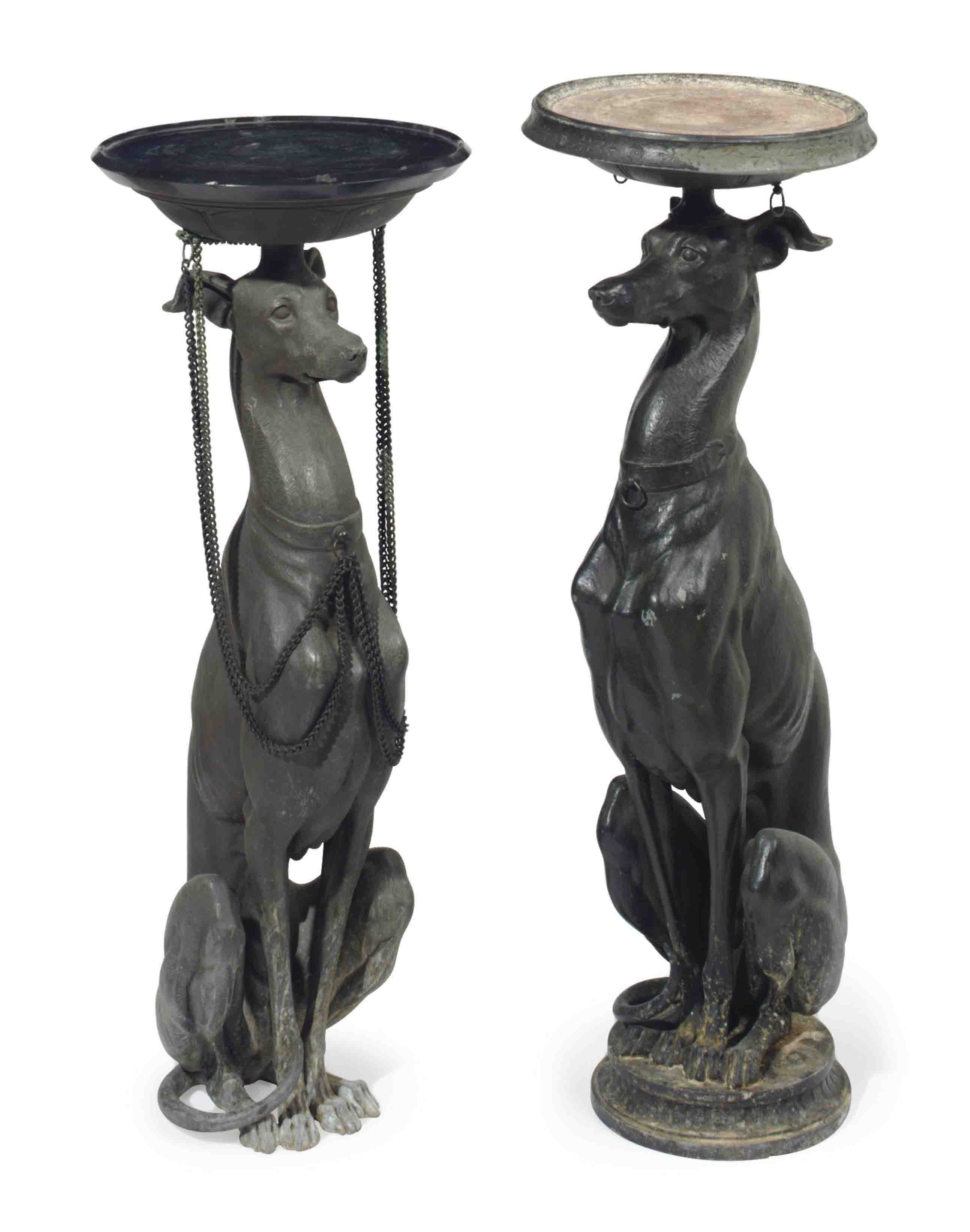 A PAIR OF CONTINENTAL PATINATED BRONZE GREYHOUSE-FORM PEDESTALS,