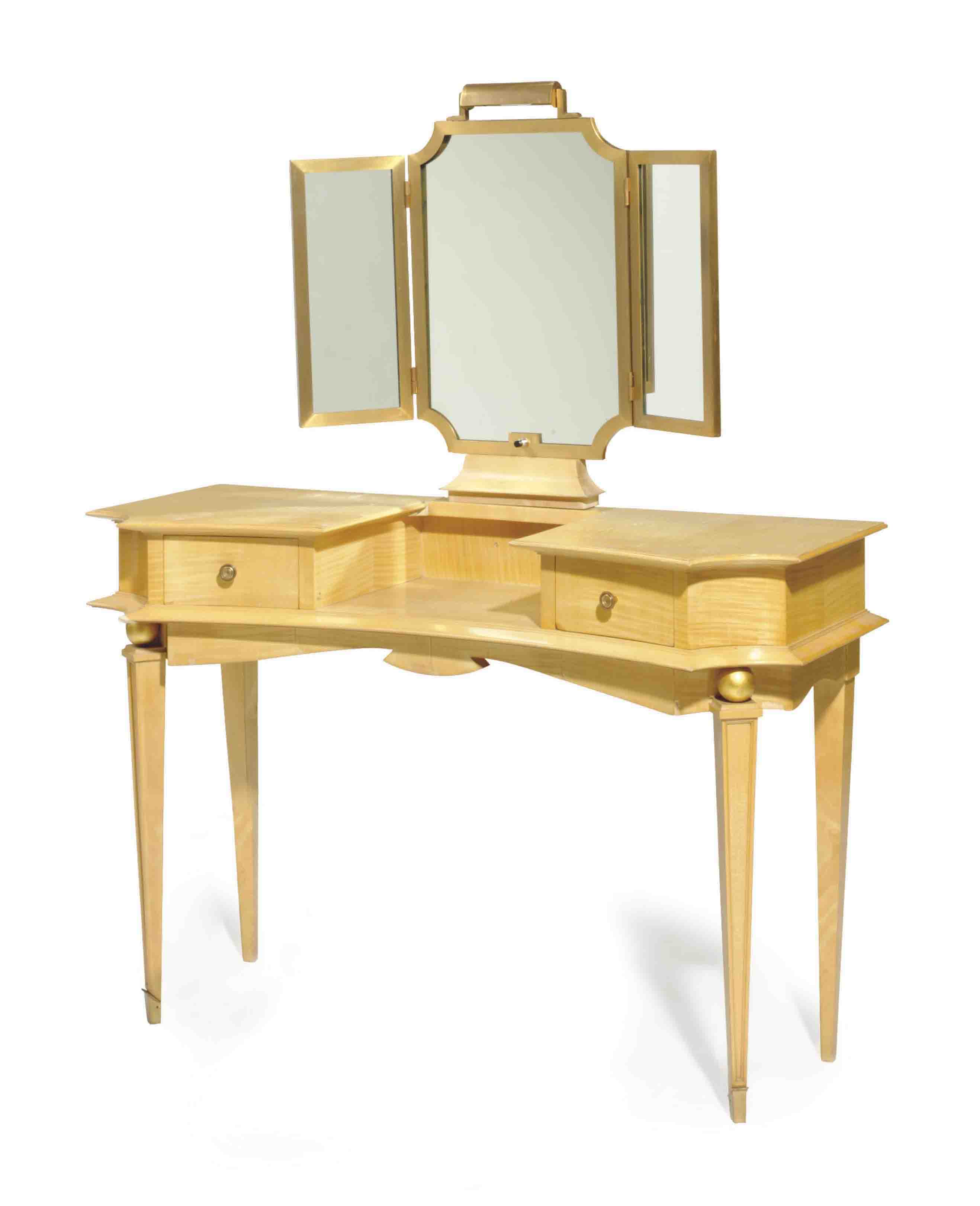 AN ART DECO STYLE MAPLE VANITY TABLE,