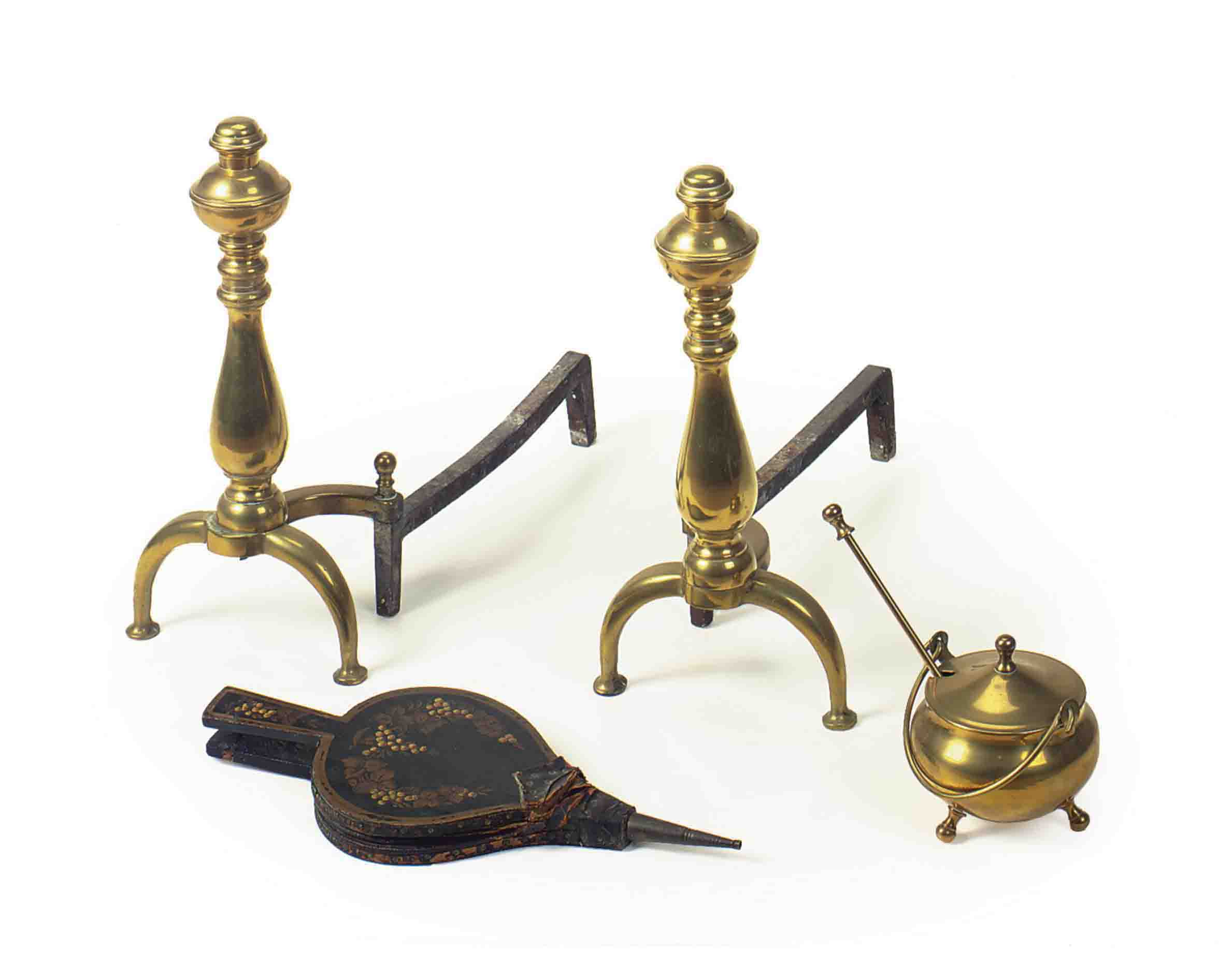 An Assembled Group Of Brass Fireplace Equipment 20th Century