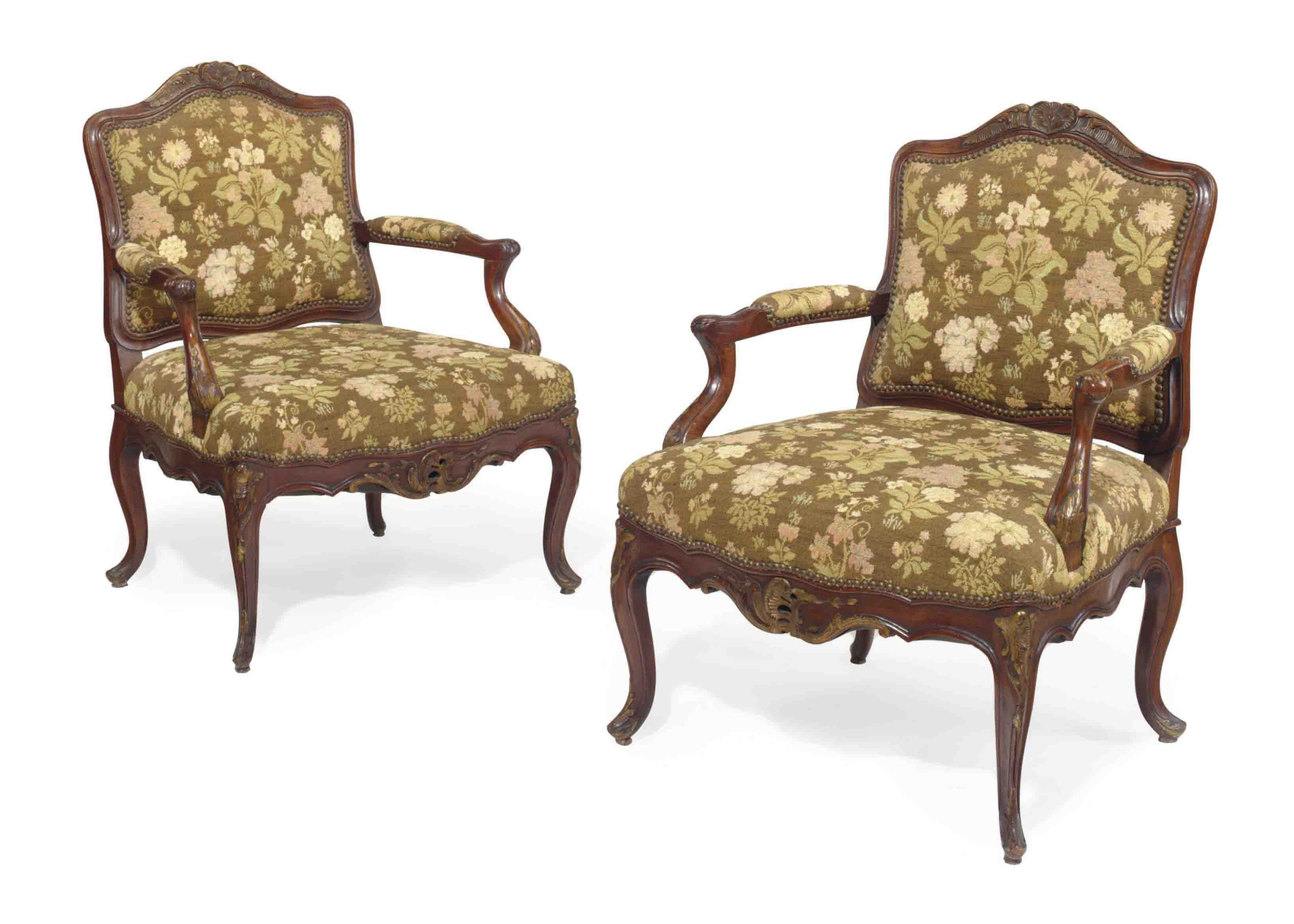 A PAIR OF FRENCH PARCEL-GILT MAHOGANY FAUTEUILS,