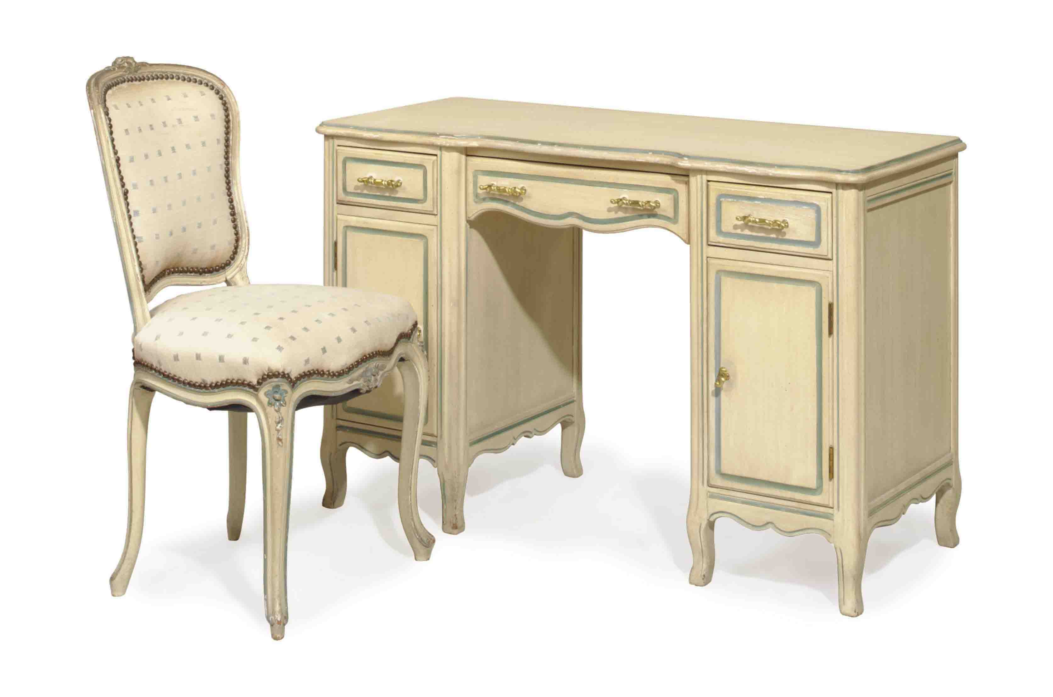 A WHITE PAINTED DRESSING TABLE AND CHAIR,