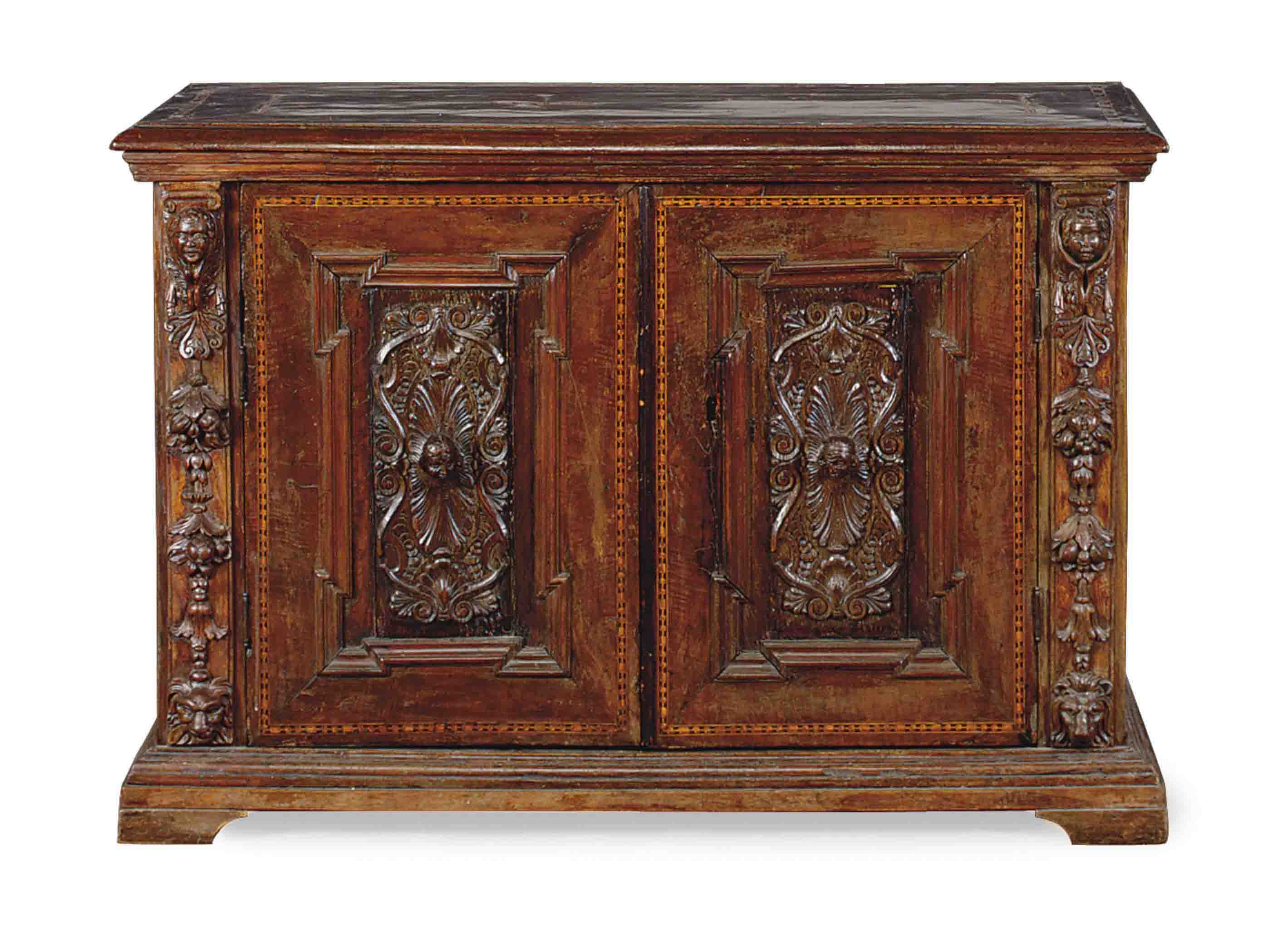 AN ITALIAN INALID AND CARVED WALNUT CREDENZA,
