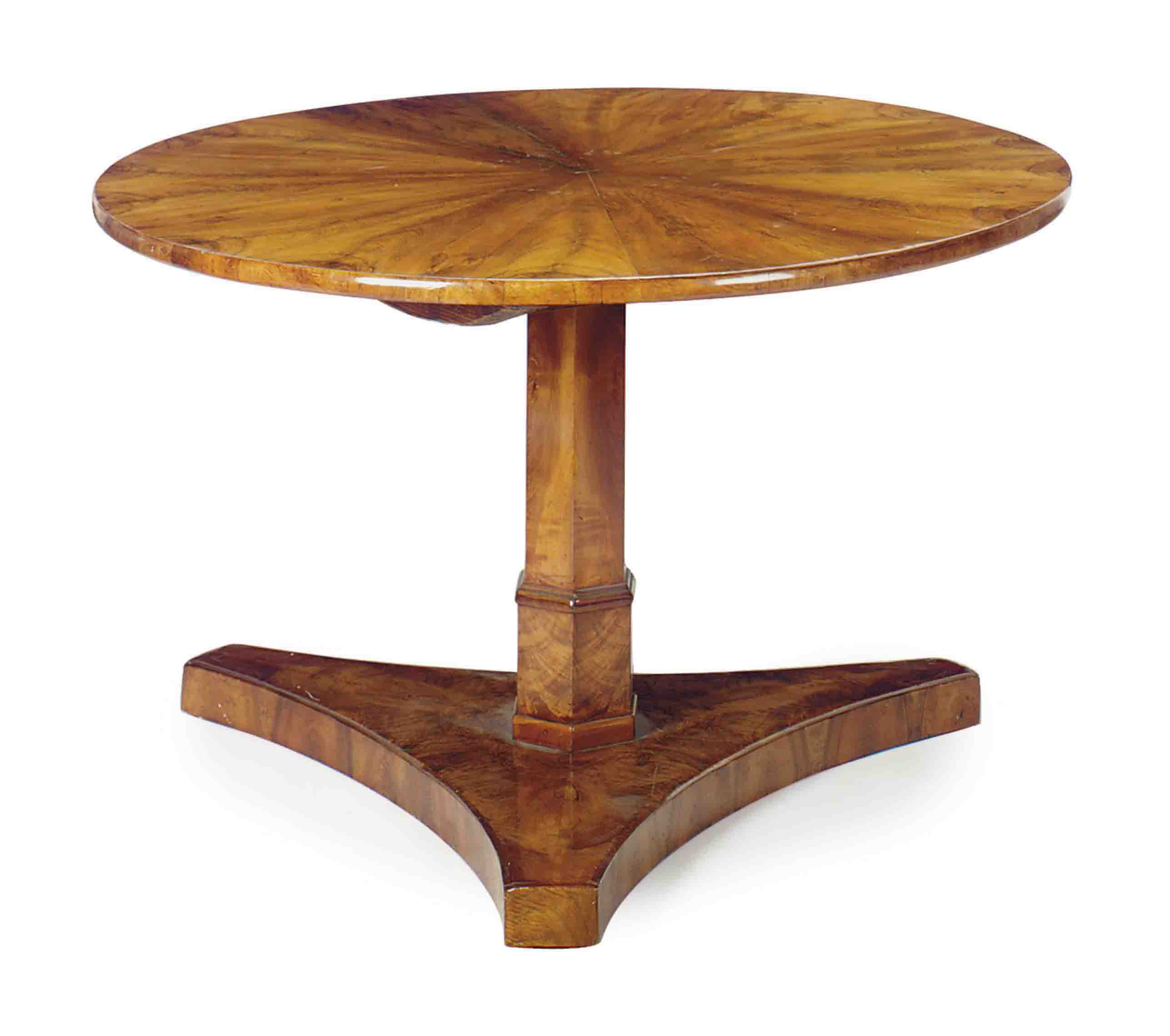 A CONTINENTAL WALNUT CENTER TABLE,