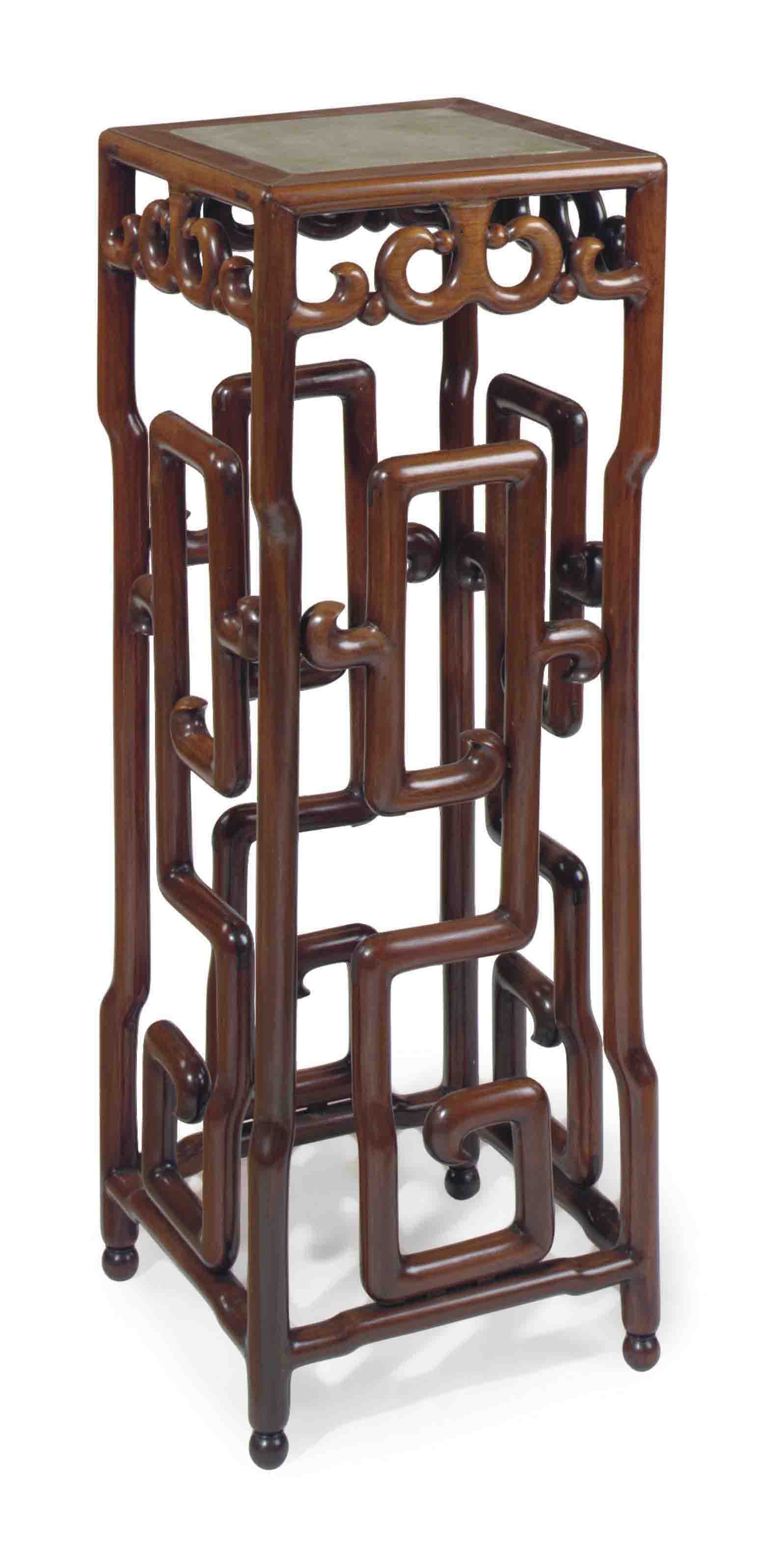 A CHINESE HARDWOOD AND INSET MARBLE-TOP STAND,