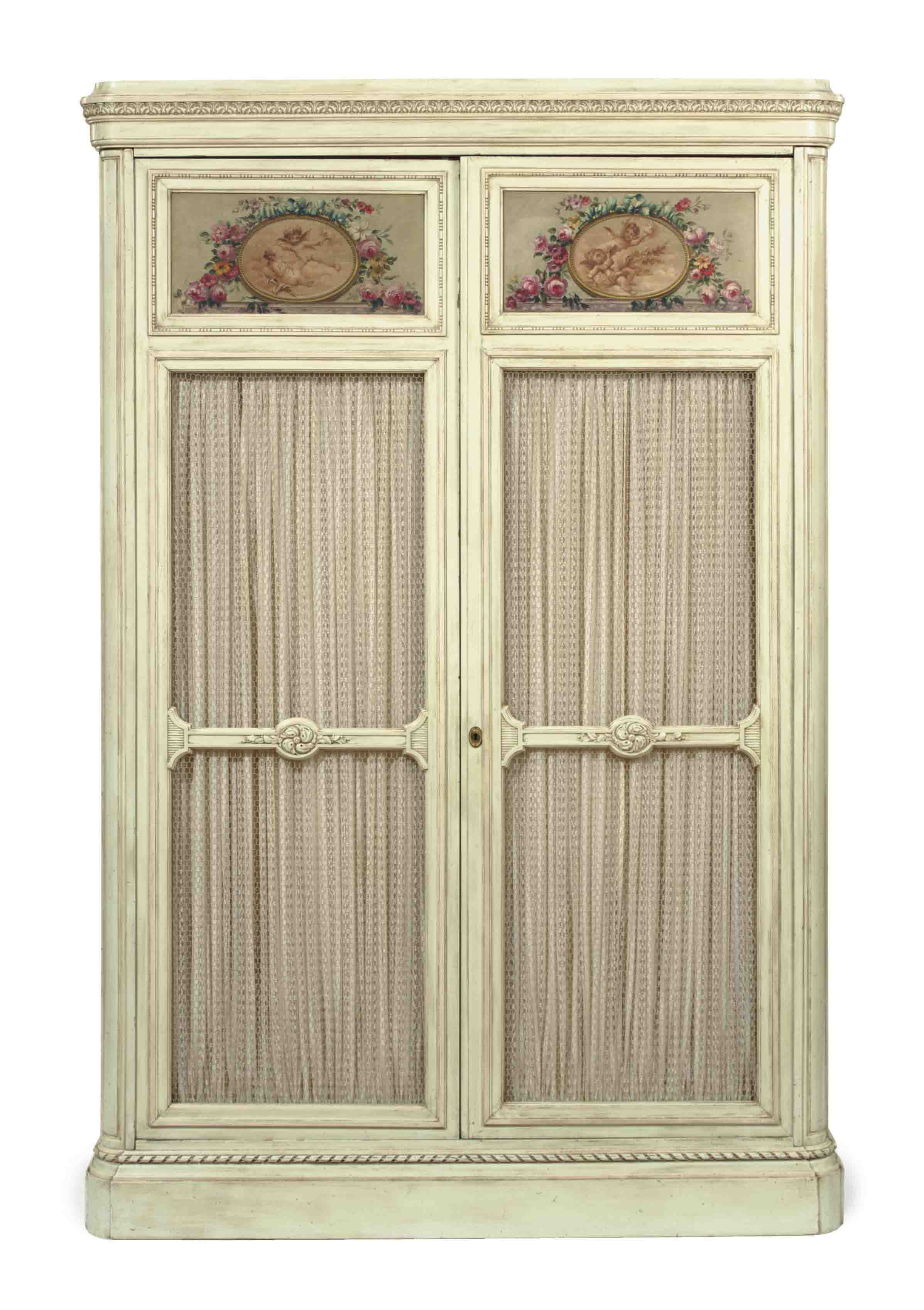 A POLYCHROME AND PALE GREEN PAINTED ARMOIRE,
