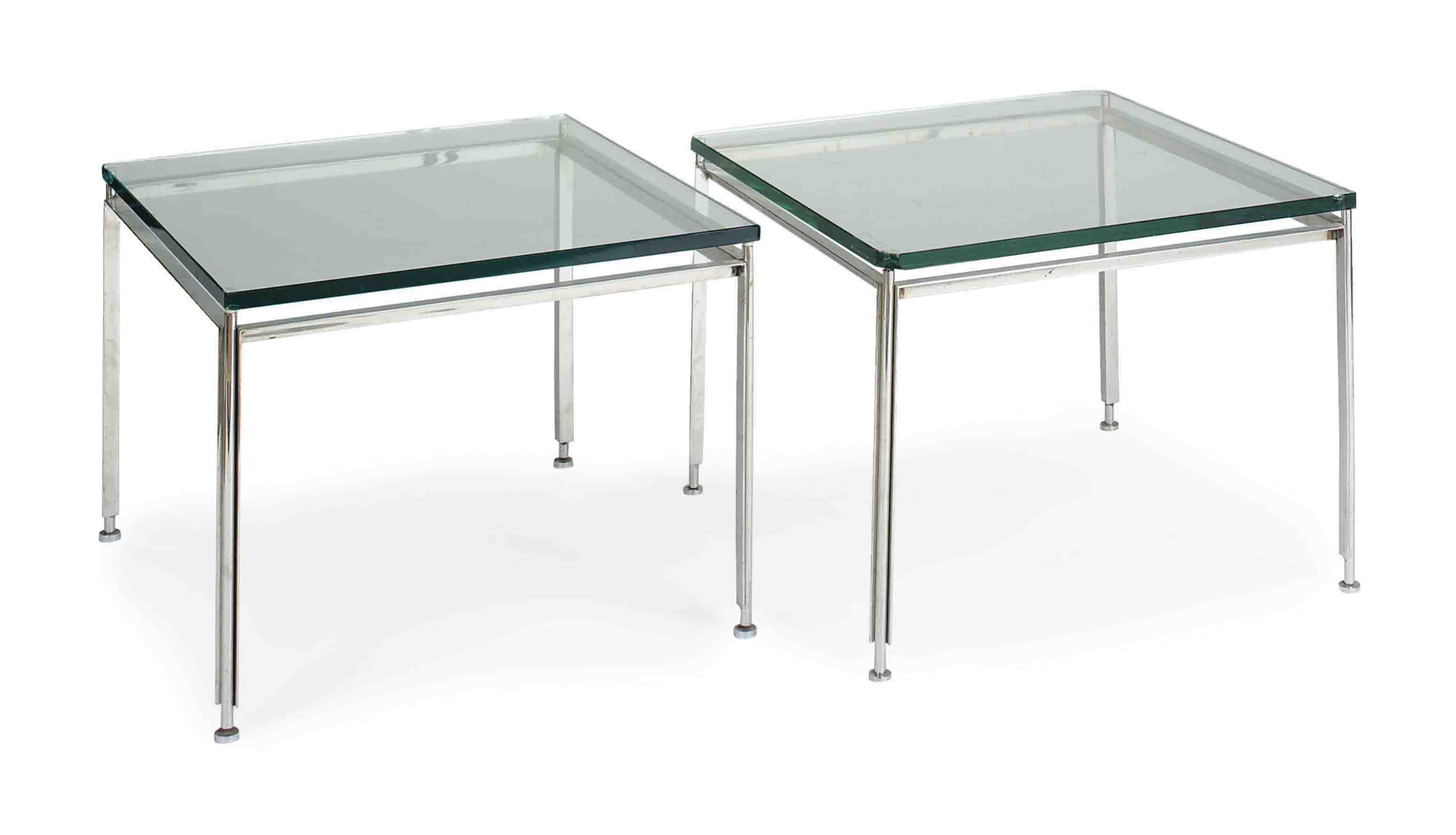A PAIR OF CHROME AND GLASS SIDE TABLES,