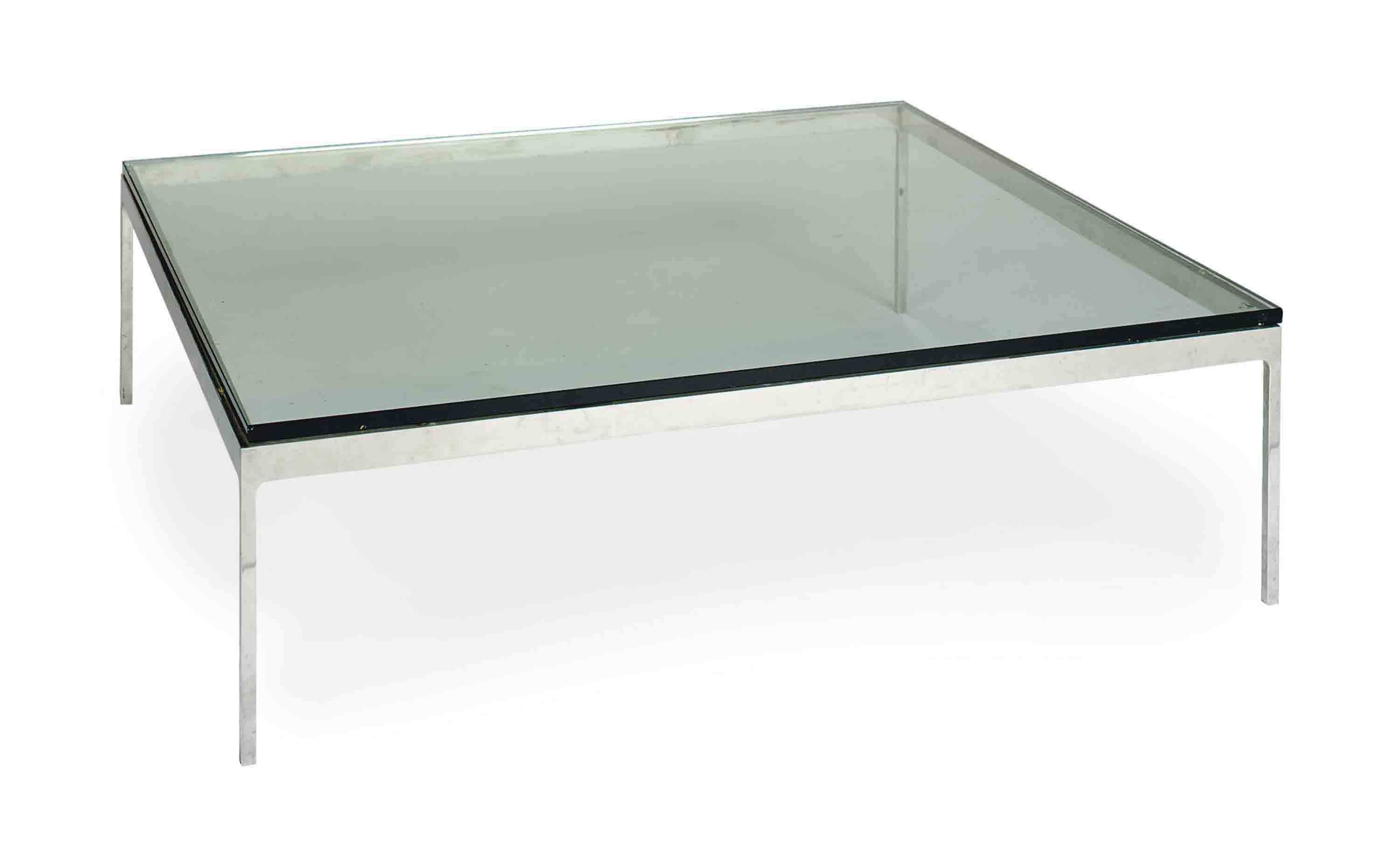 A CHROMED-METAL AND GLASS SQUARE LOW TABLE,
