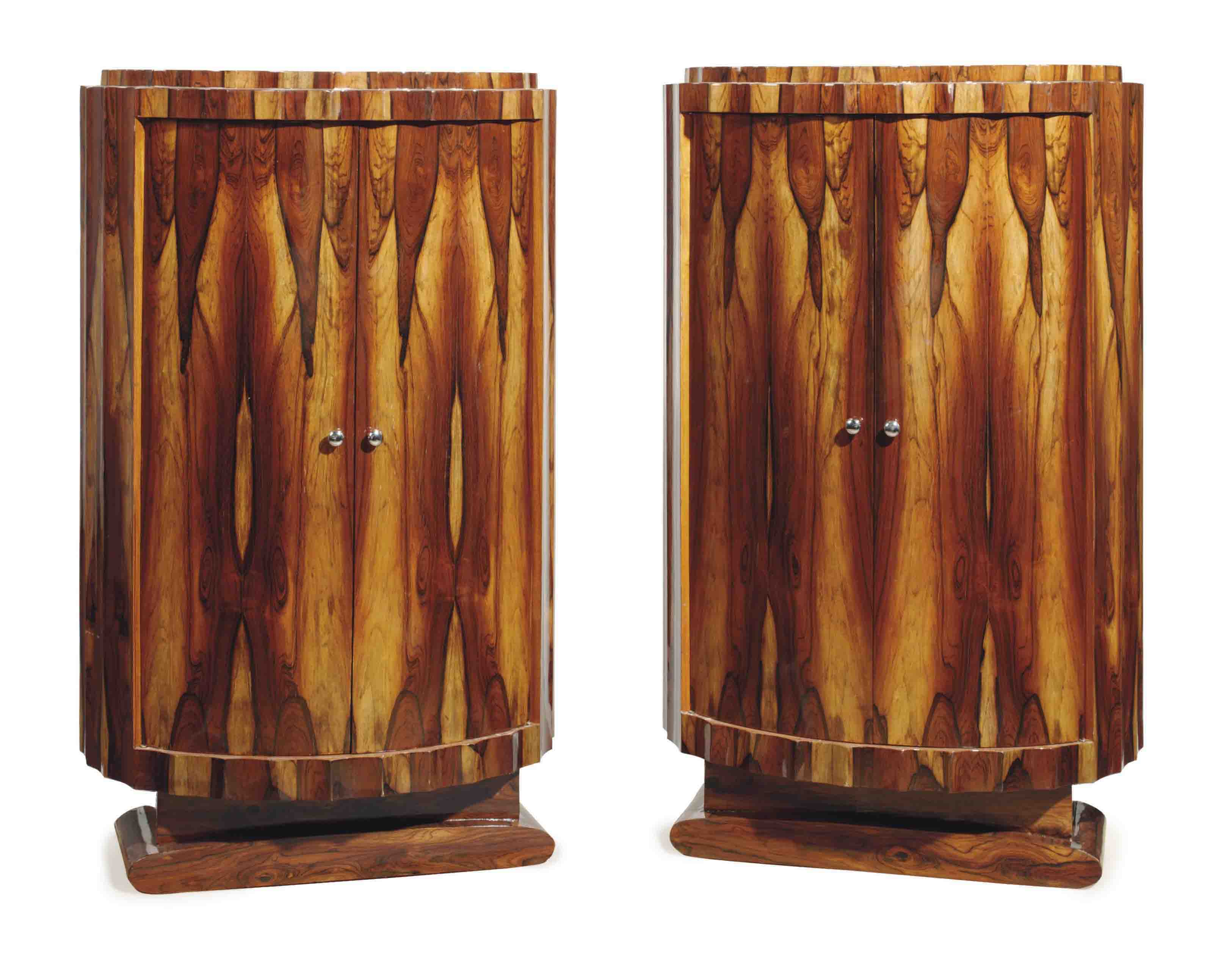 A PAIR OF ART DECO STYLE FLAME-VENEERED CABINETS,
