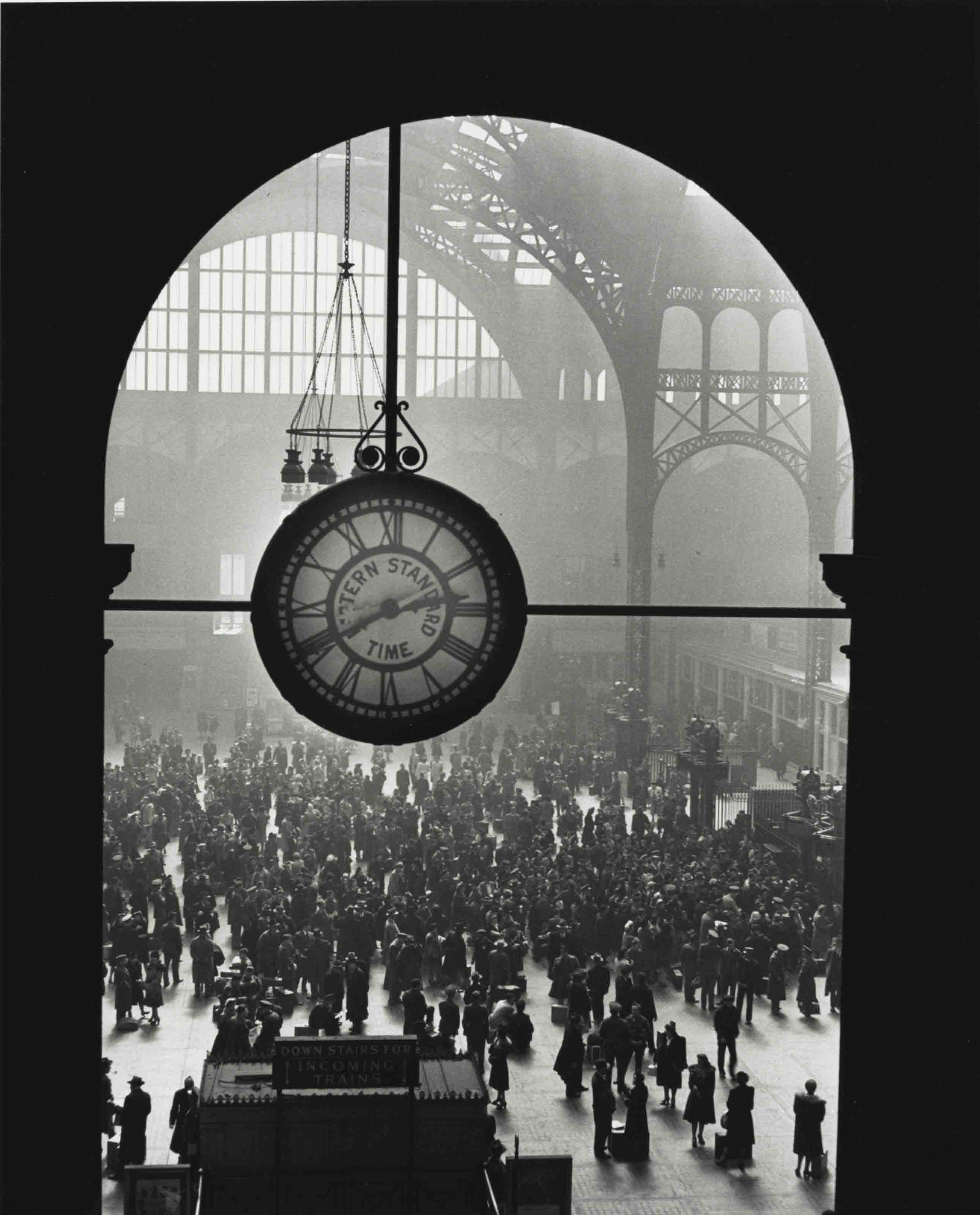 Famed clock at Pennsylvania Station in New York during wartime, 1943
