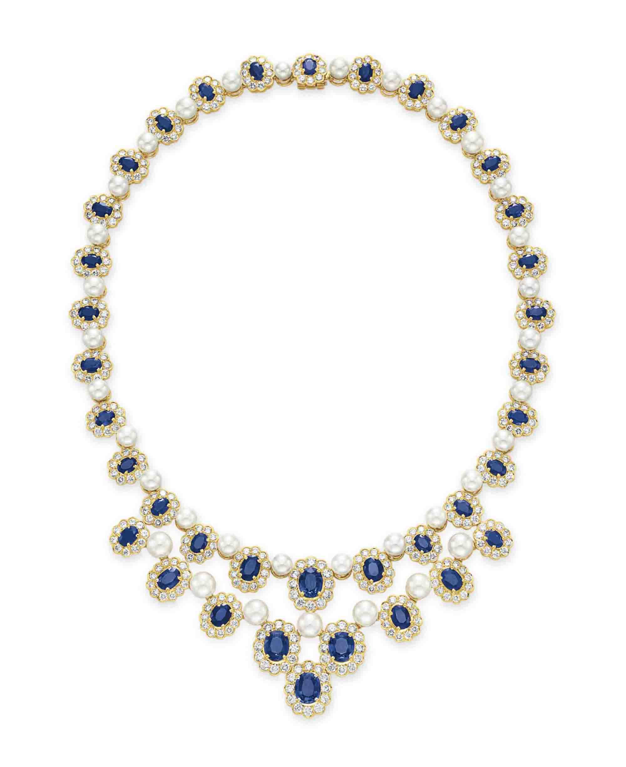 A SAPPHIRE, DIAMOND AND CULTURED PEARL NECKLACE, BY HAMMERMAN BROTHERS
