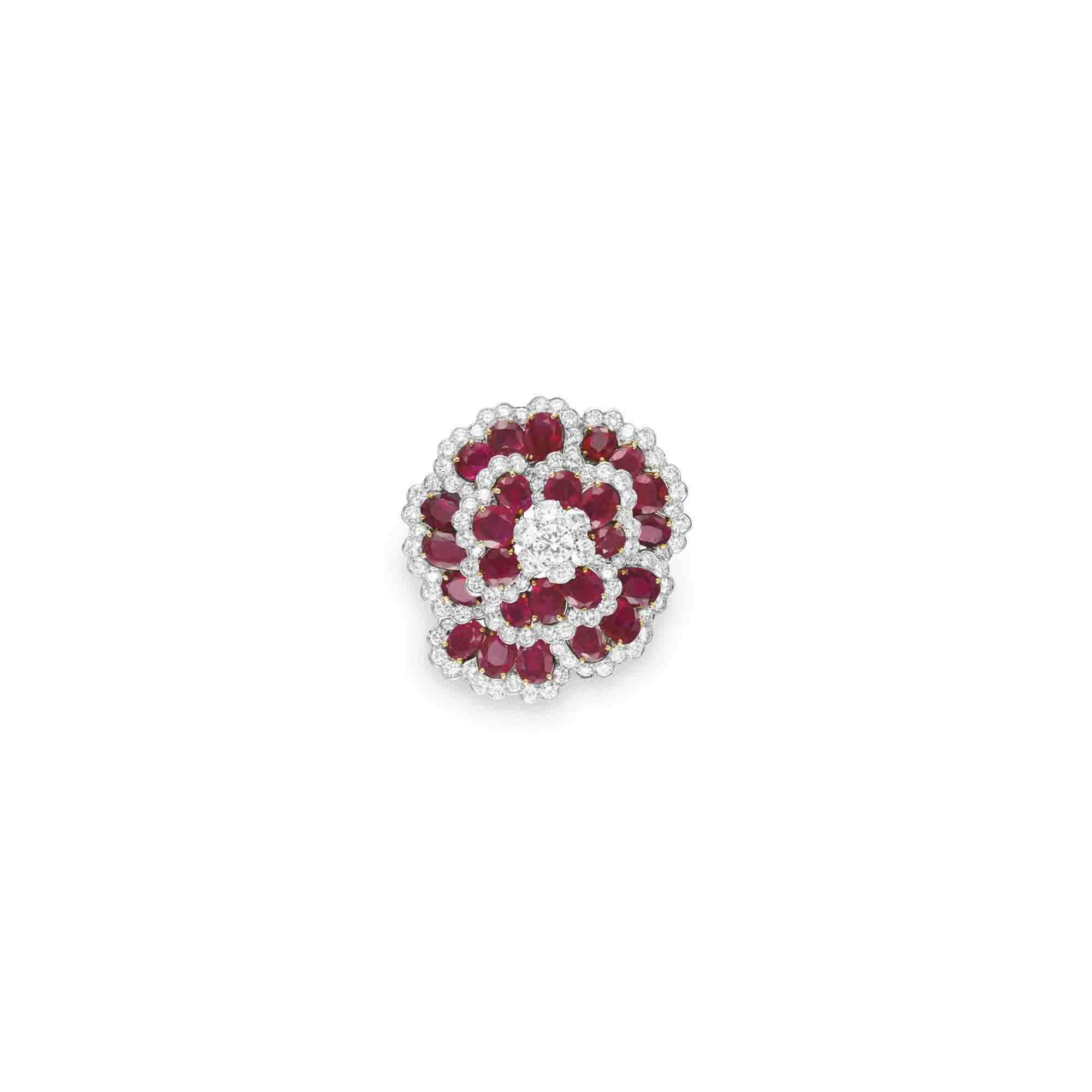 "A RUBY AND DIAMOND ""CAMELIA"" BROOCH, BY VAN CLEEF & ARPELS"