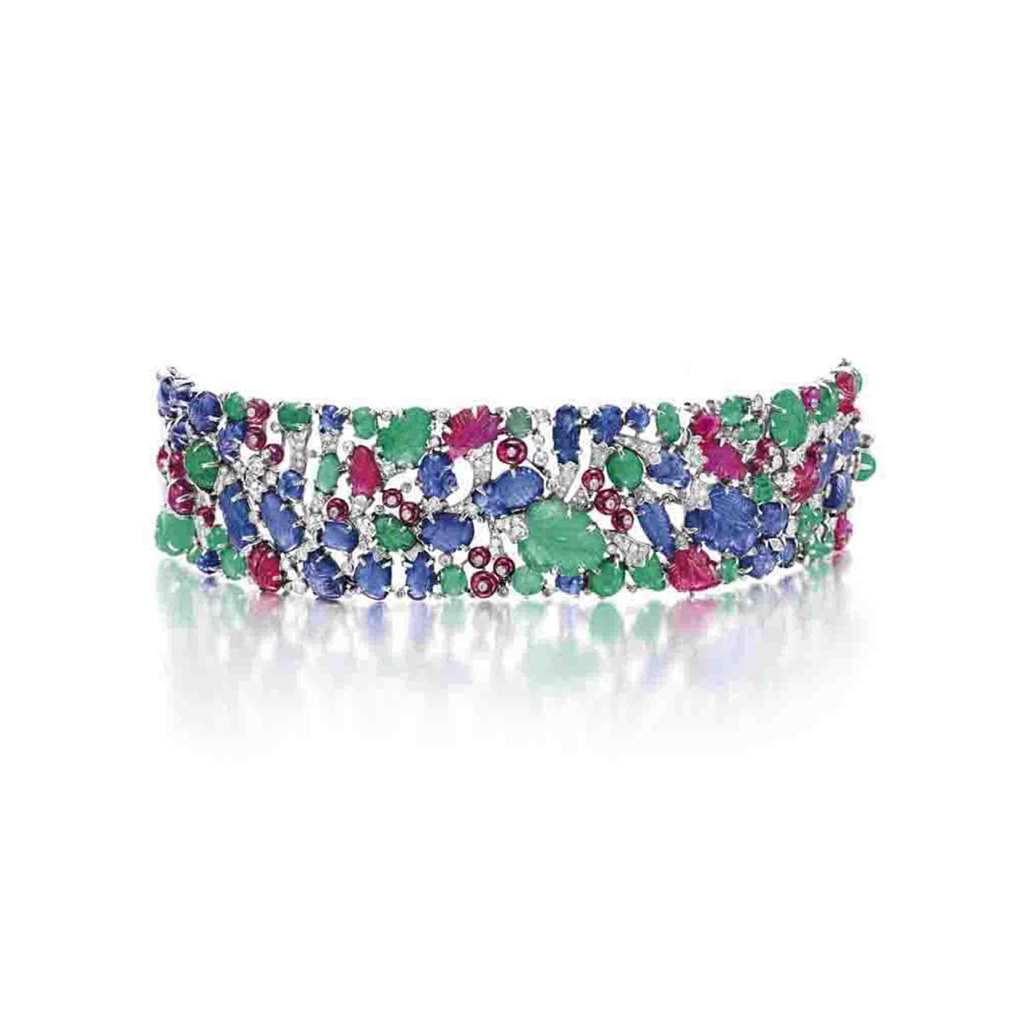 """Audio: An art deco diamond and multi-gem """"Tutti Frutti"""" bracelet, by Cartier"""