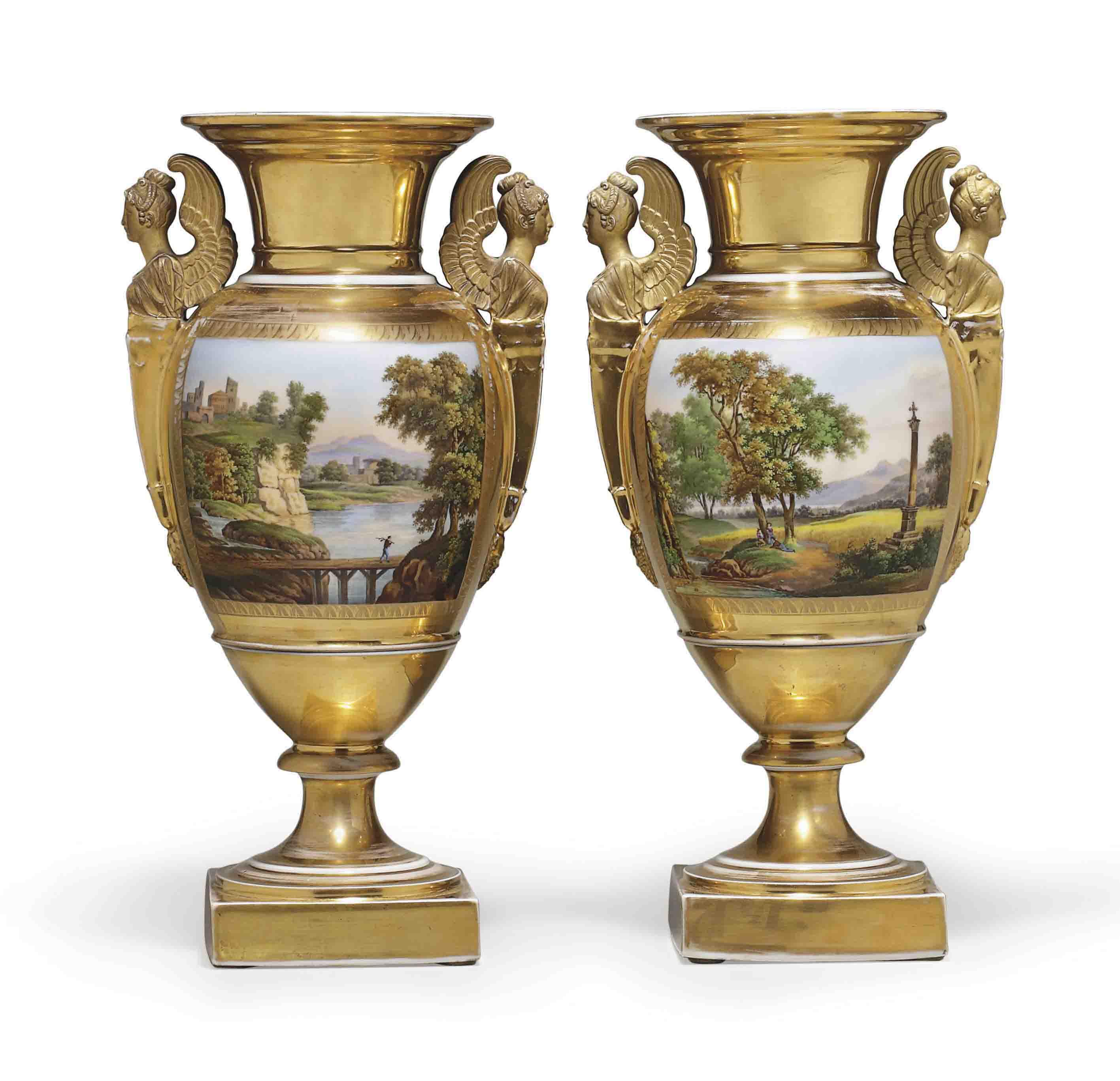 A PAIR OF PARIS PORCELAIN GOLD-GROUND VASES