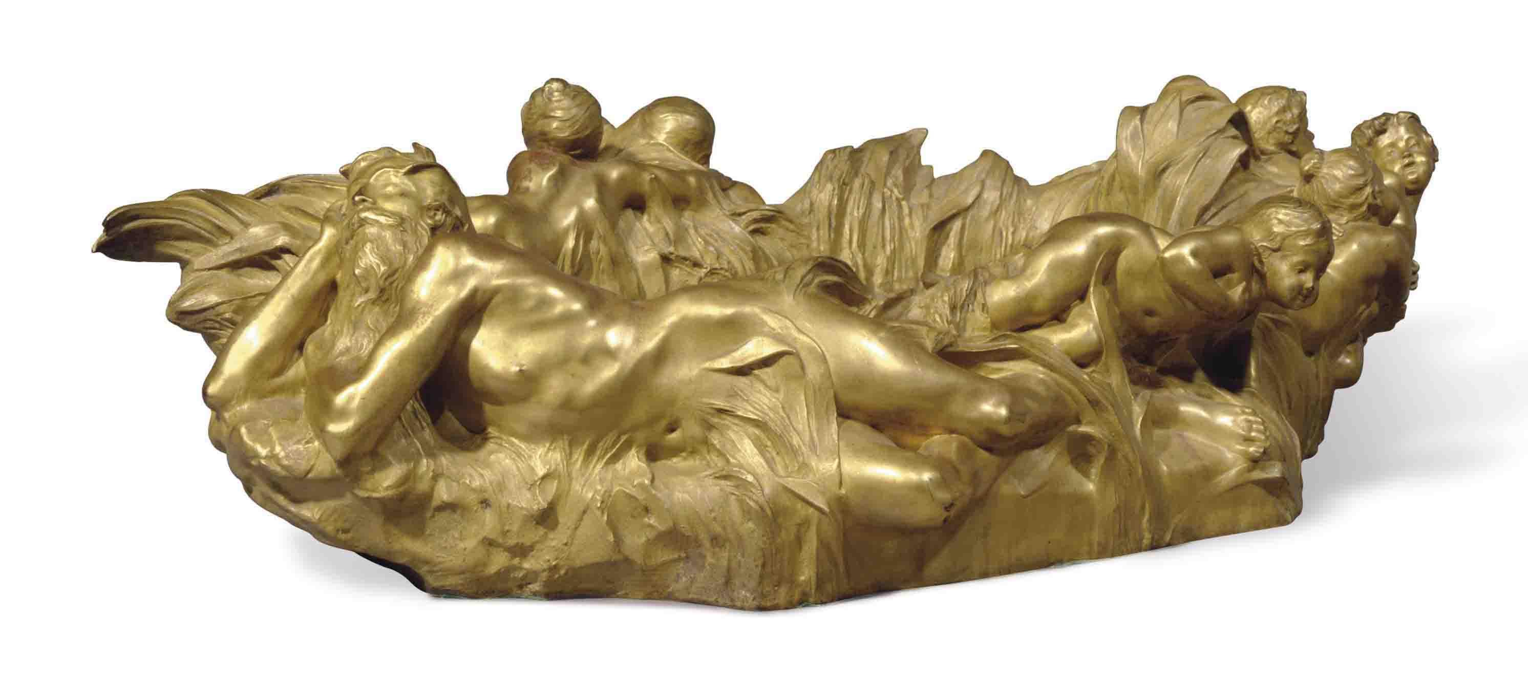 A FRENCH ART NOUVEAU GILT-BRONZE JARDINIERE