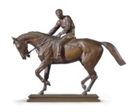 A FRENCH PATINATED BRONZE EQUESTRIAN GROUP ENTITLED 'LE GRAND JOCKEY'