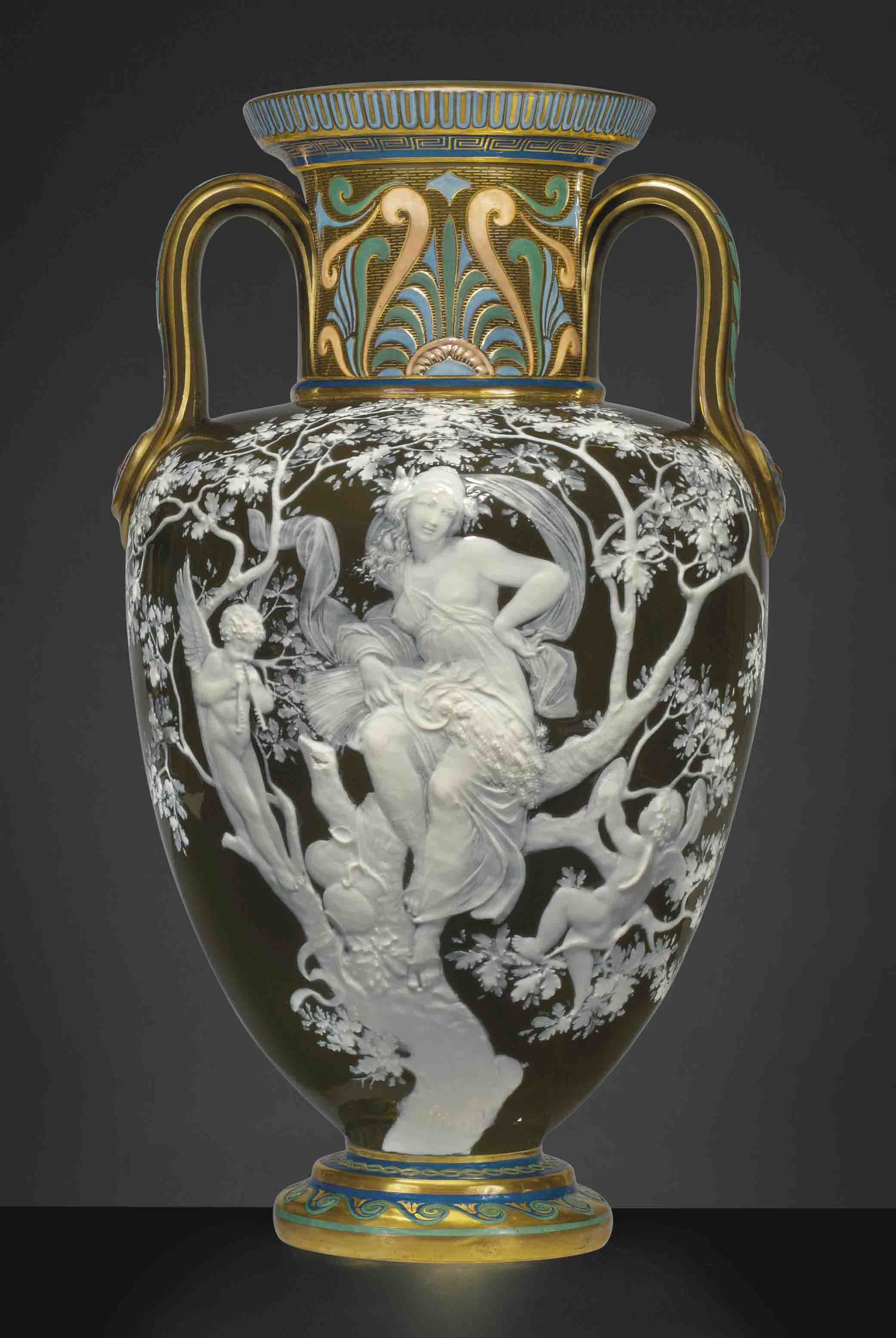 A MINTONS PATE-SUR-PATE OLIVE-GREEN TWO-HANDLED VASE