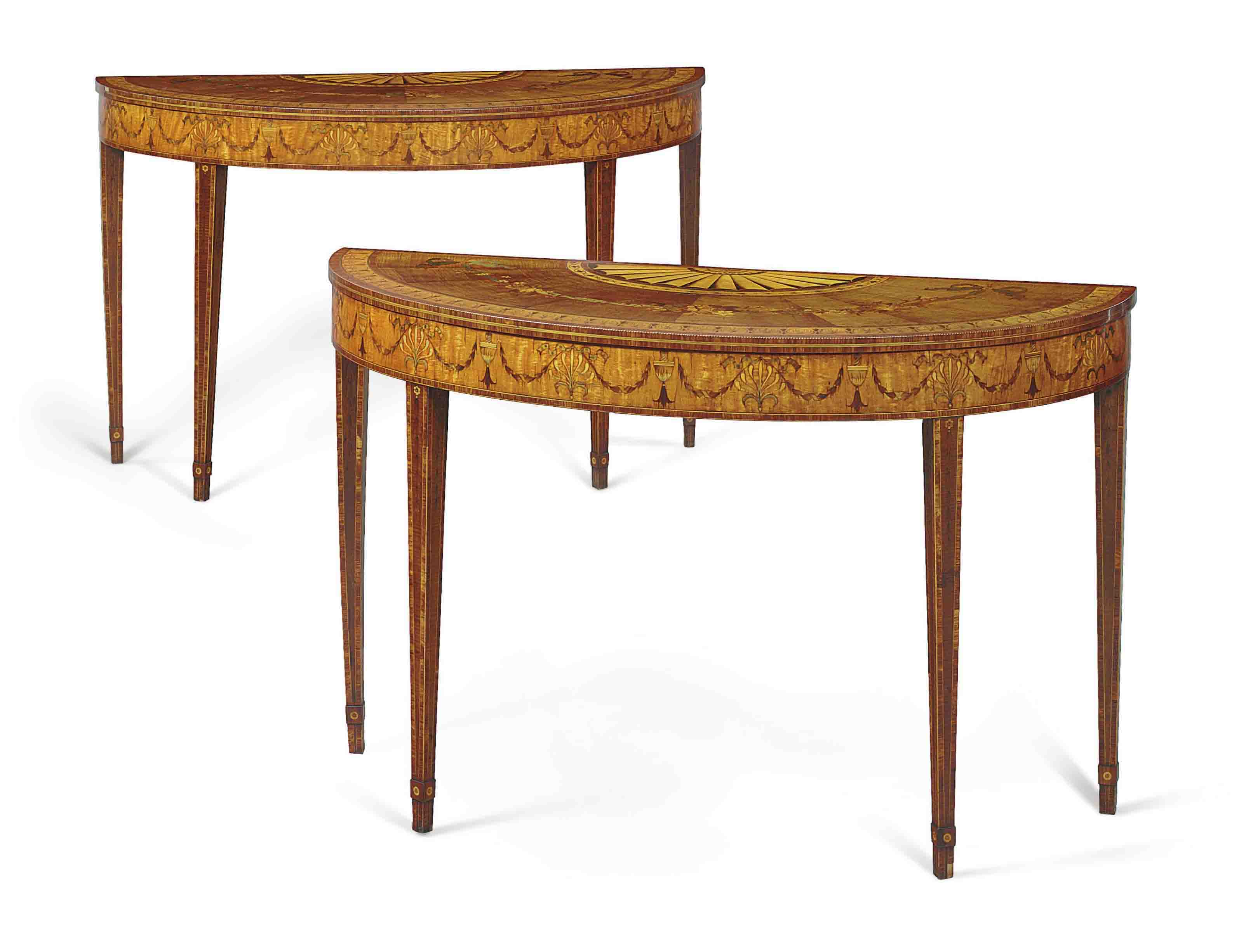 Audio: A pair of George III sycamore, satinwood and marquetry pier tables