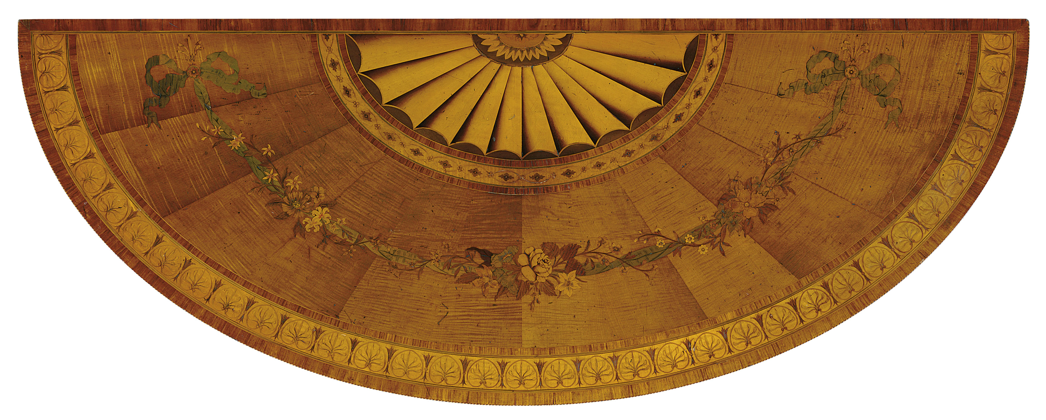 A PAIR OF GEORGE III SYCAMORE, SATINWOOD AND MARQUETRY PIER TABLES