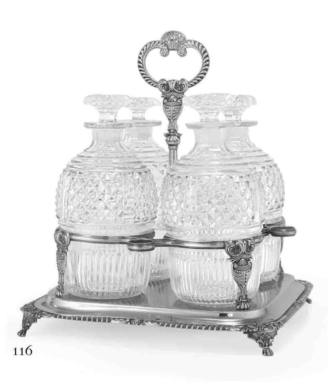 A GEORGE III SILVER DECANTER STAND