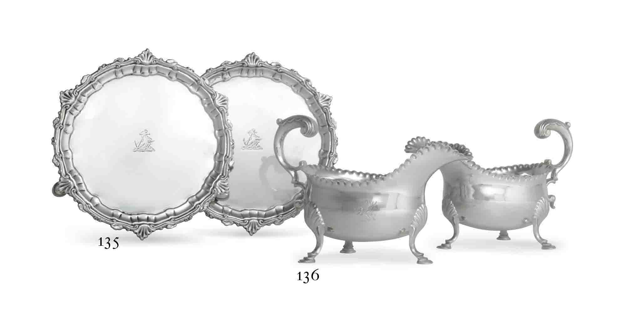 A PAIR OF GEORGE III IRISH SILVER WAITERS