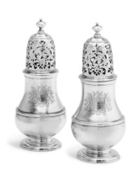 A PAIR OF GEORGE I SILVER CASTERS