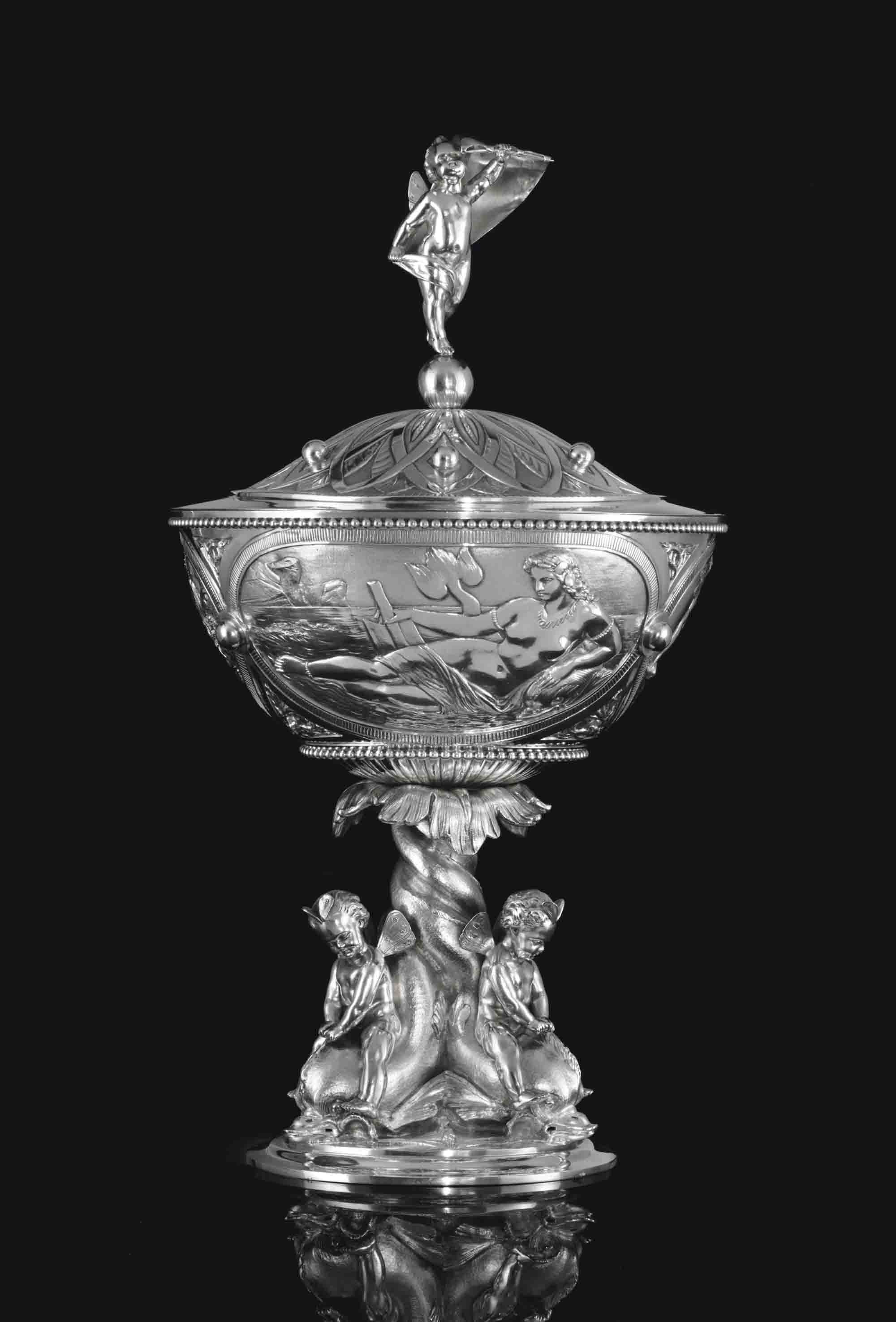 A VICTORIAN SILVER CUP AND COVER