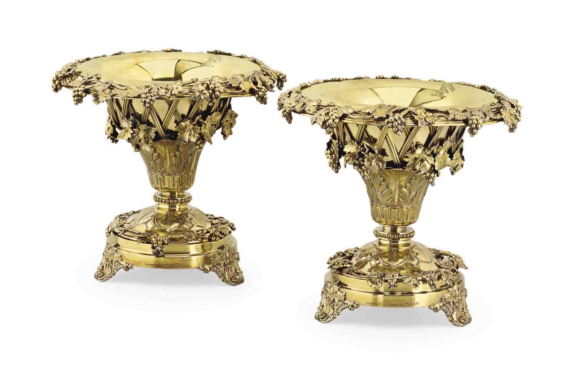A PAIR OF VICTORIAN SILVER-GILT DESSERT STANDS