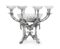 A FINE GEORGE IV SILVER AND CUT-GLASS EPERGNE
