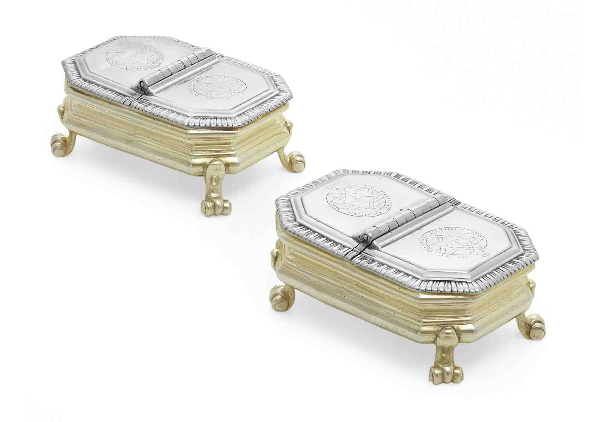 A PAIR OF GEORGE II SILVER-GILT DOUBLE SPICE BOXES