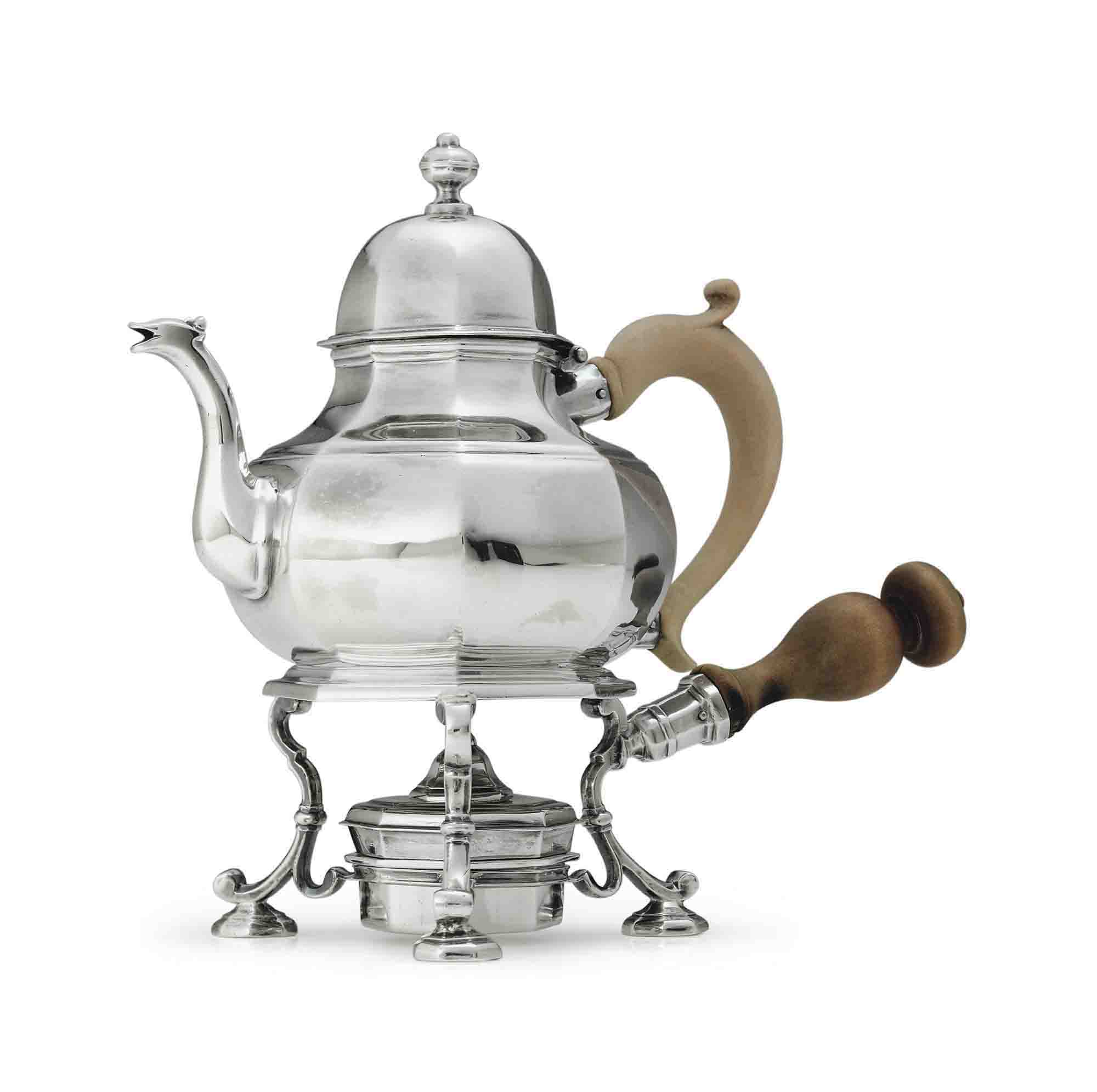 A QUEEN ANNE SILVER TEAPOT-ON-STAND