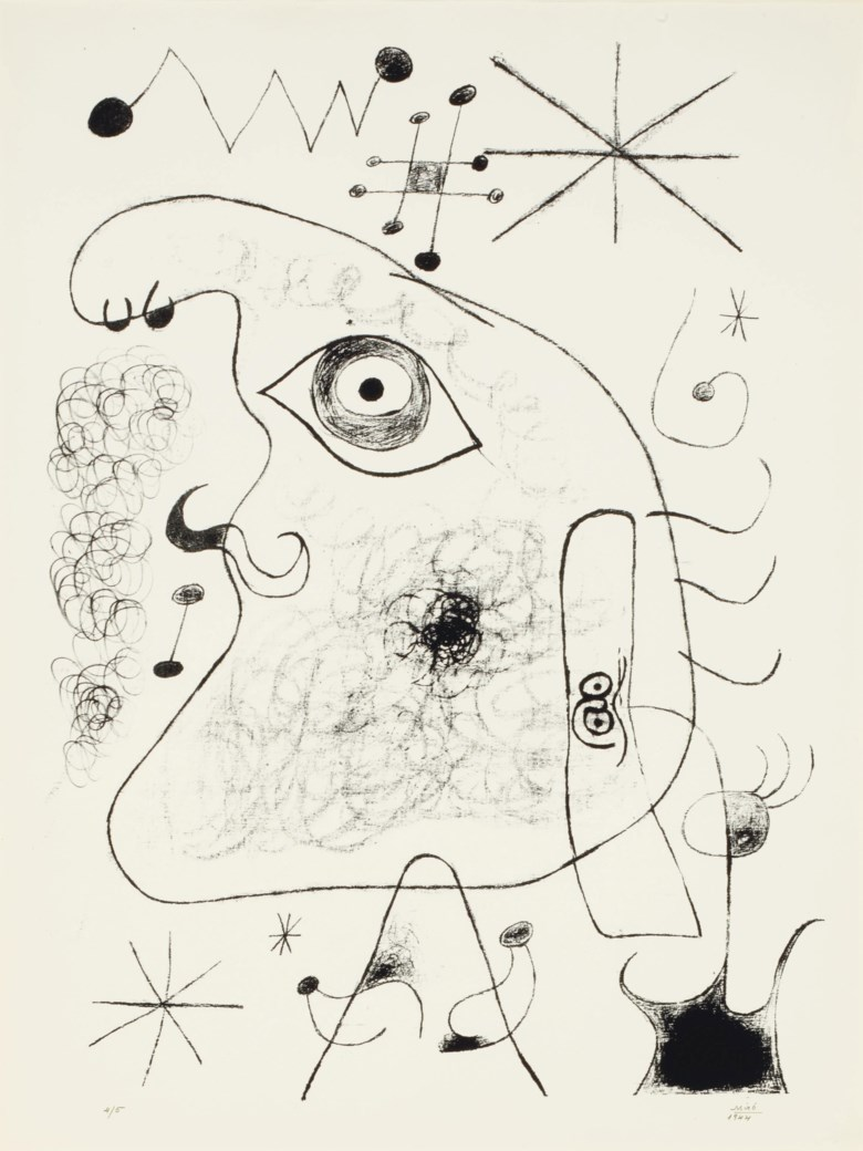 Joan Miró, Barcelona XXXV, from Barcelona Series (M. 40), 1944. Lithograph, on Torras Juvinya, signed and dated in pencil. S 27½ x 20¾ in (699 x 527 mm). Sold for $15,000 on 25-26 October 2011 at Christie's in New York. © Successió Miró  ADAGP, Paris and DACS London 2020