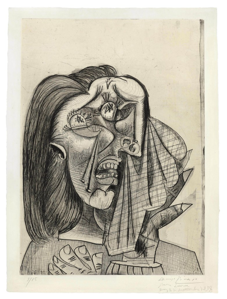 Pablo Picasso (1881-1973), La femme qui pleure, I. Drypoint, aquatint, etching and scraper, on laid Montval wove paper — a very fine impression of the the seventh (final) state. Executed in 1937, this work is number three from an edition of 15. Sheet size 30¼ x 22¼ in (767 x 565 mm). Sold for $5,122,500 on 1 November 2011 at Christie's in New York. Artwork ©