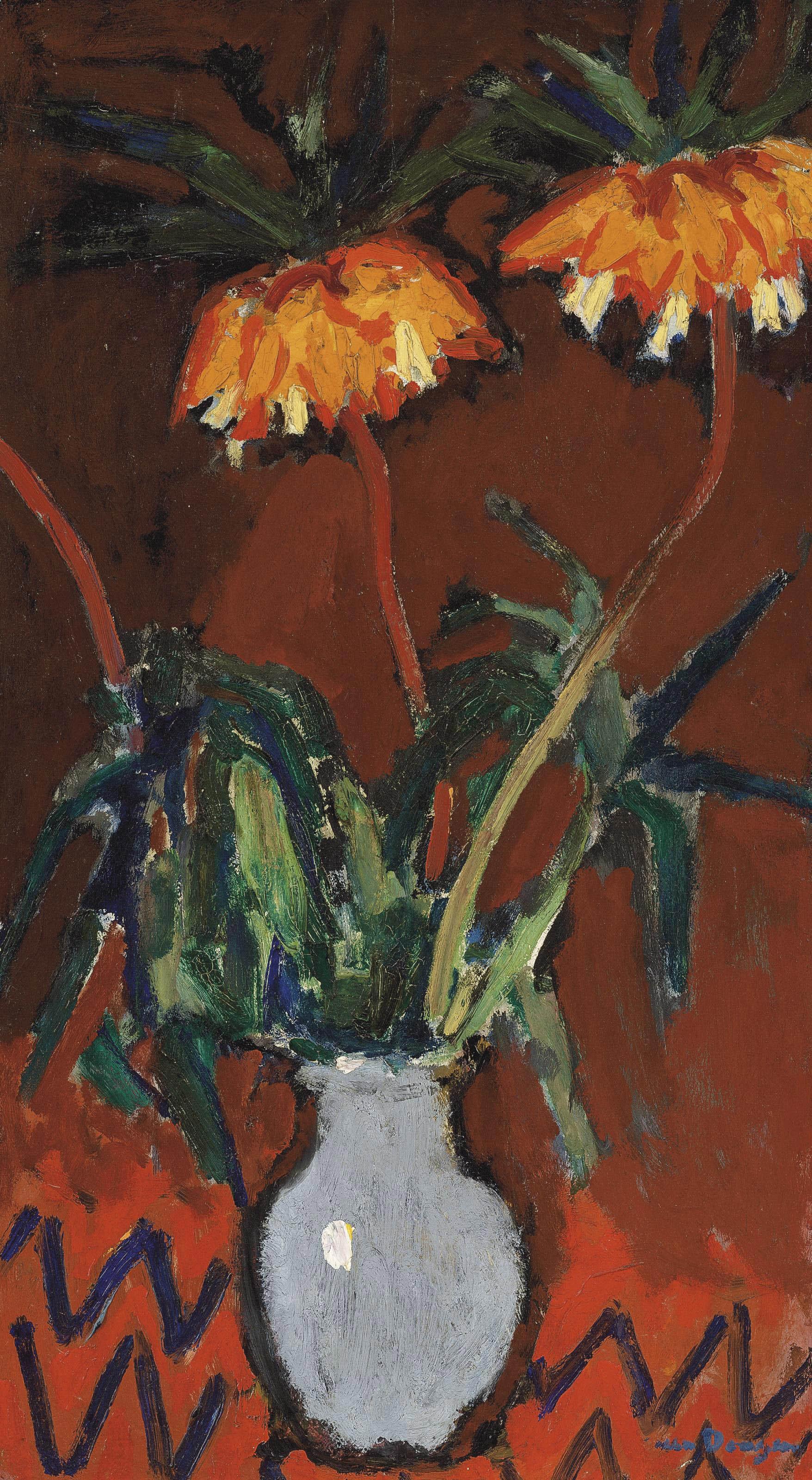 Kees van Dongen (1877-1968) , Fleurs dans un vase bleu | Christie's