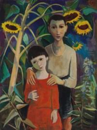 Kinder unter Sonnenblumen