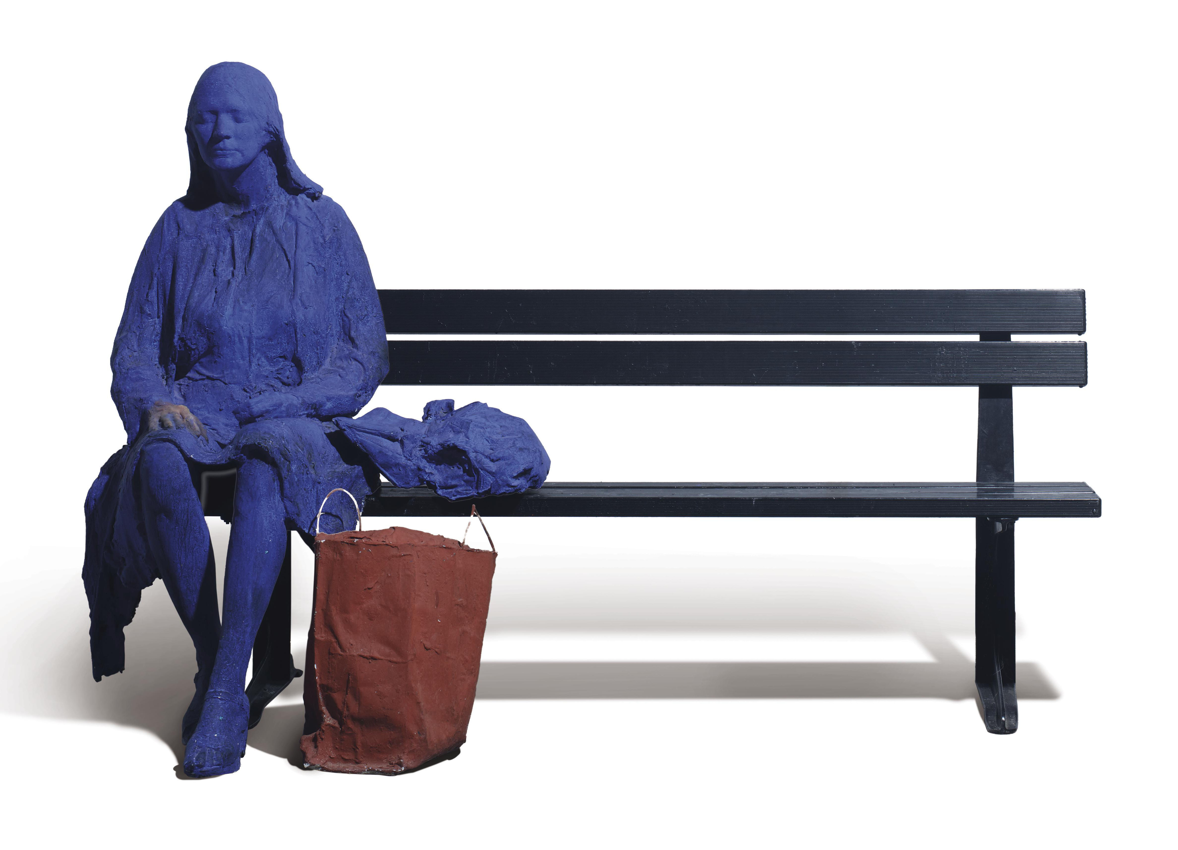 Blue Girl on Park Bench