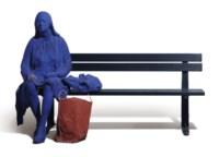 Blue Girl on Park Bench