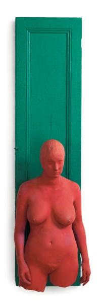 Magenta Girl on Green Door