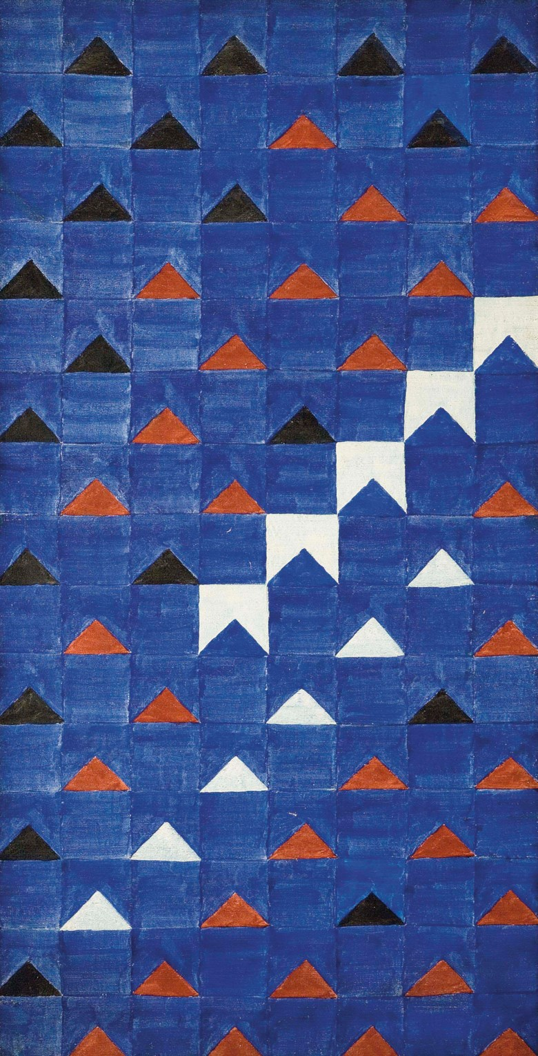Alfredo Volpi (Brazilian 1896-1988), Bandeirinhas Estruturadas, painted circa 1966. Tempera on canvas. 55½ x 28⅜  in (141 x 72  cm). Sold for $842,500 on 15-16 November 2011 at Christie's in New York