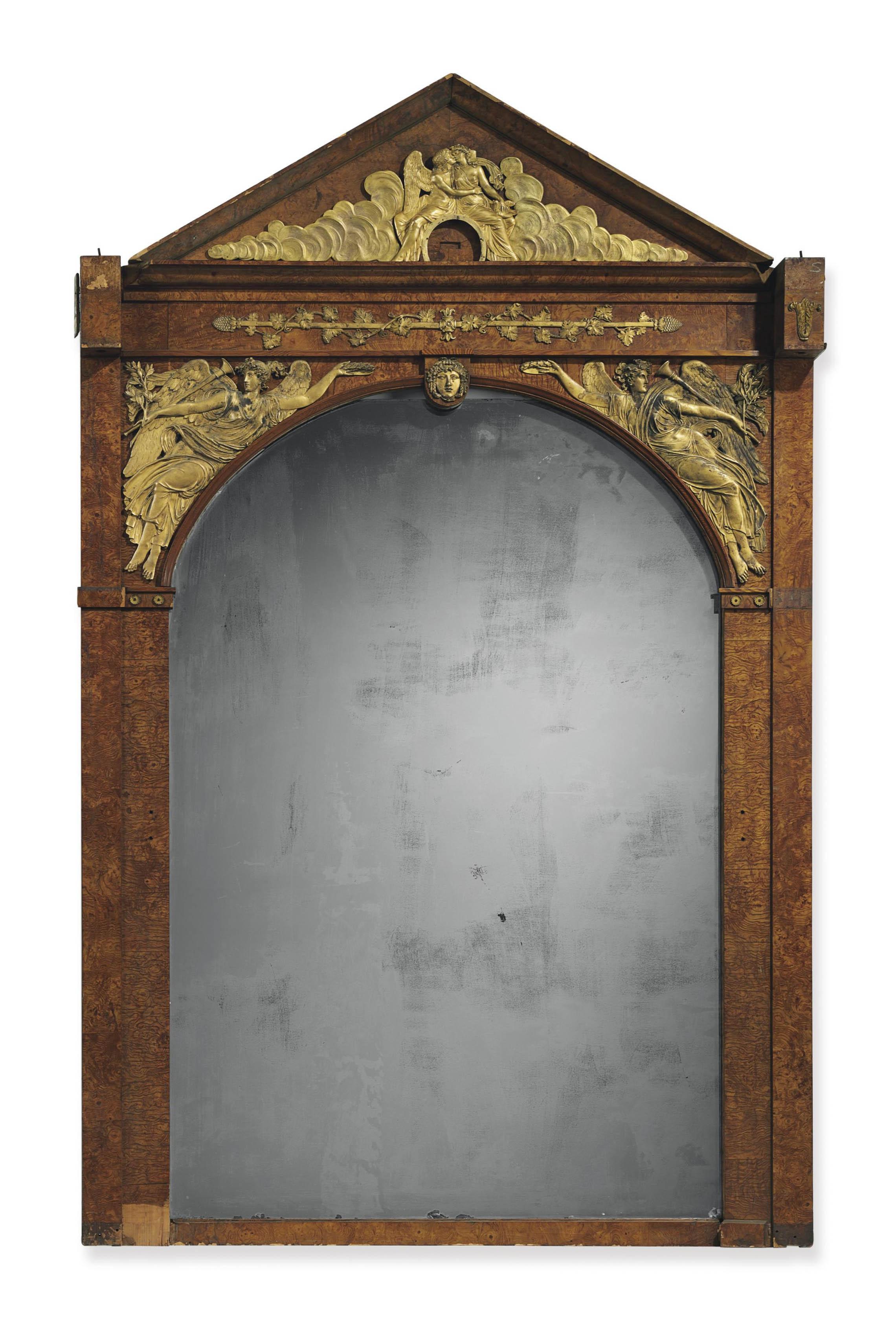 An Empire Ormolu Mounted Burr Ash Pier Mirror