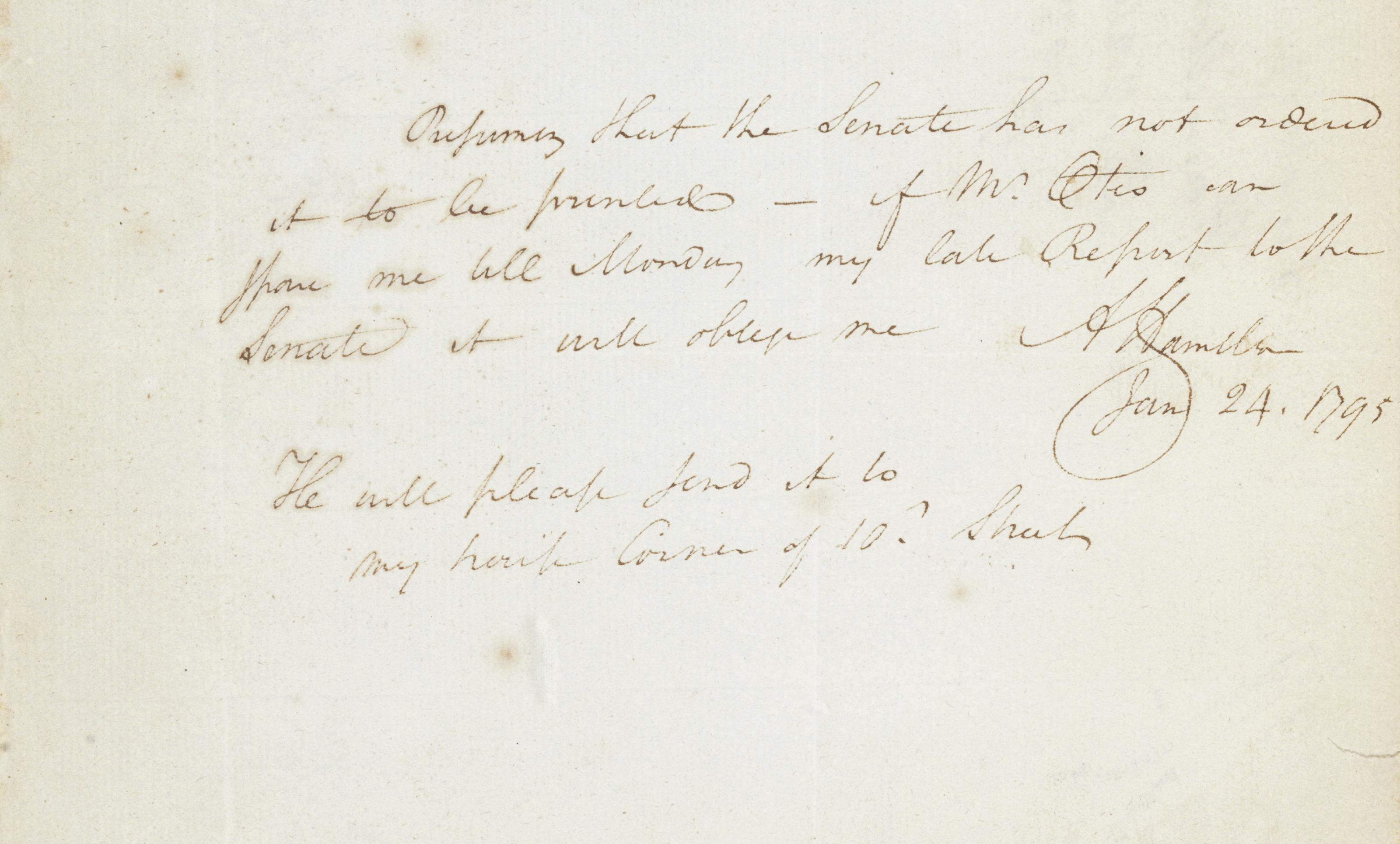 "HAMILTON, Alexander. Autograph letter signed (""A. Hamilton""), as Treasury Secretary, to Samuel Otis, 24 January 1795. 1 page, 4to."
