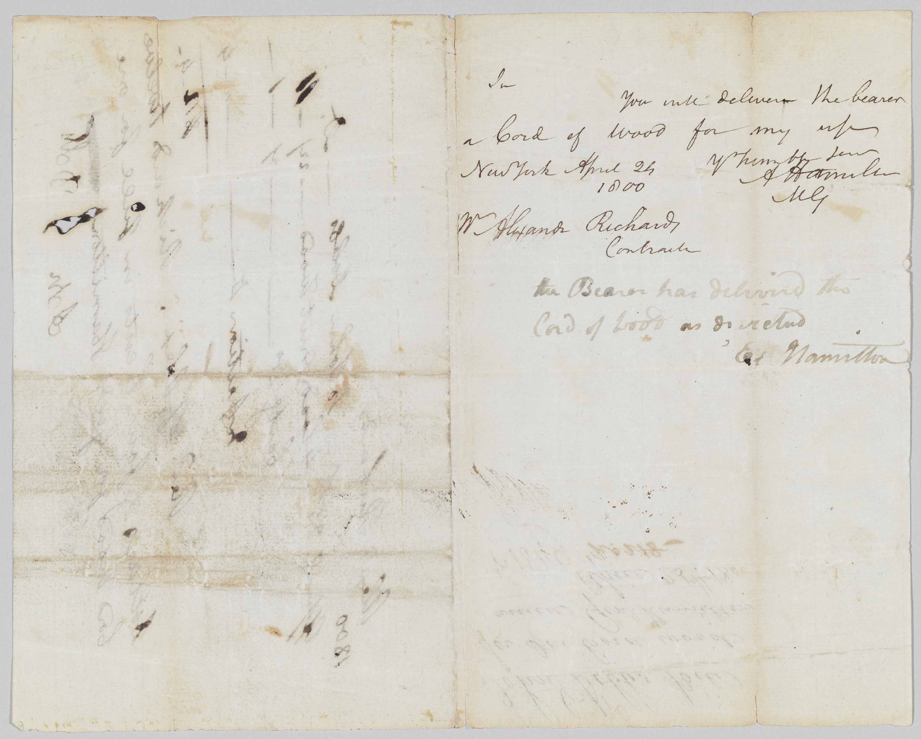 """HAMILTON, Alexander. Autograph letter signed (""""A. Hamilton""""), to Alexander Richards, New York 24 April 1800. 1 page, 8vo. WITH AUTOGRAPH ENDORSEMENT SIGNED BY HAMILTON'S WIFE ELIZA. Autograph receipt on verso from Alexander Richards to John Dobbs dated 25 April 1800."""