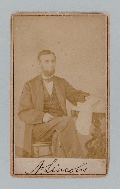 Carte De Visite Photograph Signed A Lincoln As President Taken 9 August 1863 Albumen 3 15 16 X 2 8 In Neatly Mounted On Stiff