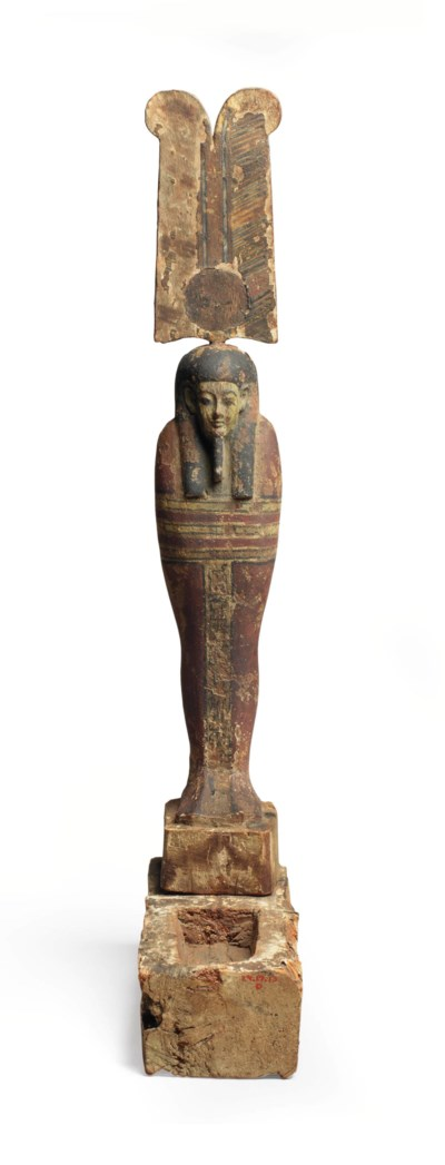 AN EGYPTIAN PAINTED WOOD PTAH-