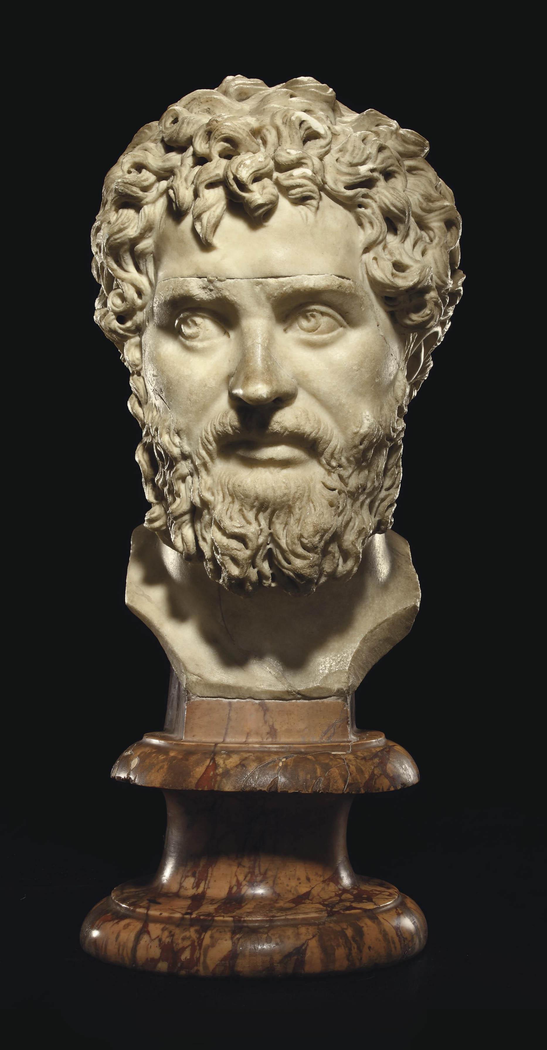 A ROMAN MARBLE PORTRAIT BUST OF THE EMPEROR SEPTIMIUS SEVERUS