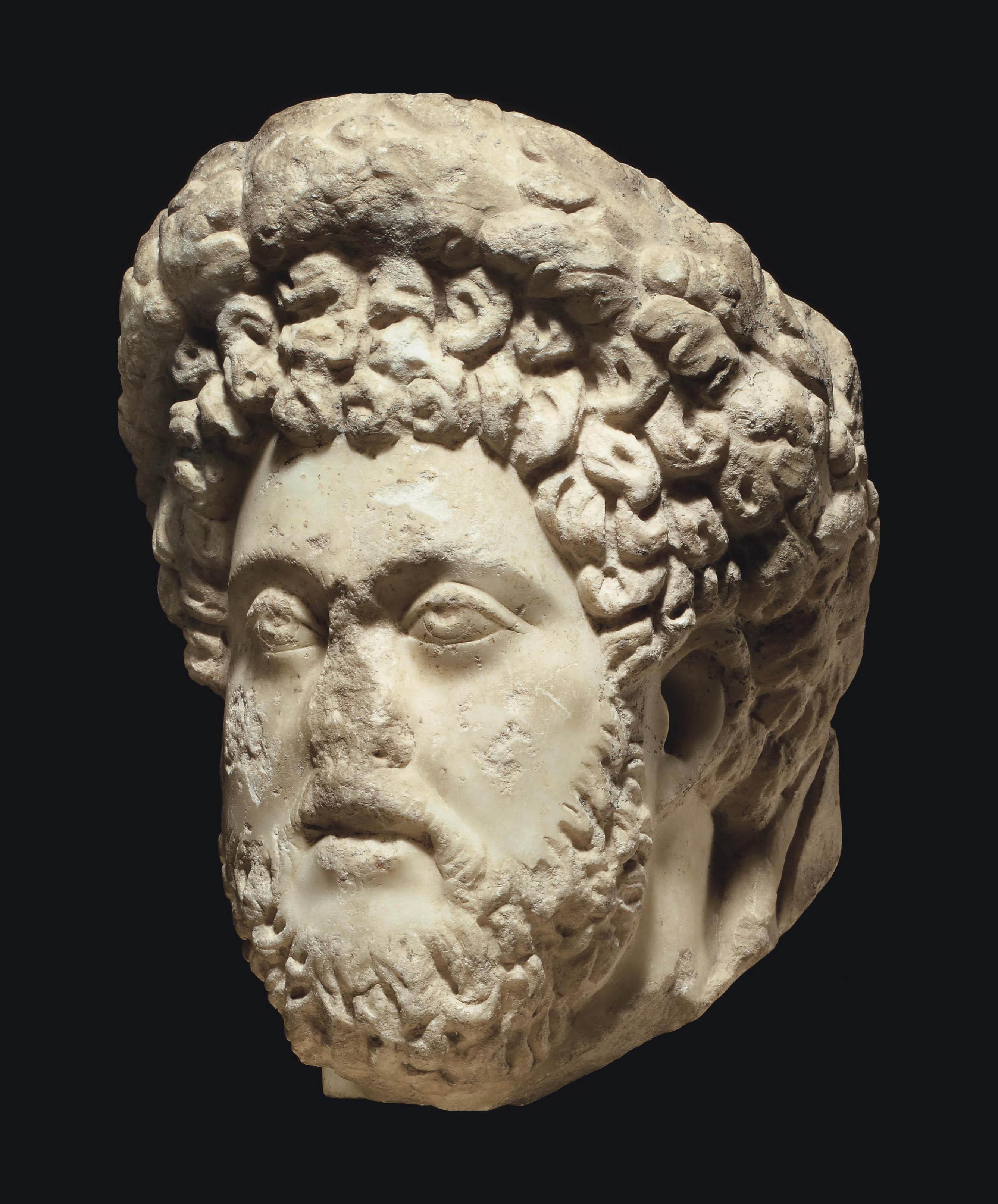 A ROMAN MARBLE PORTRAIT HEAD OF THE EMPEROR COMMODUS