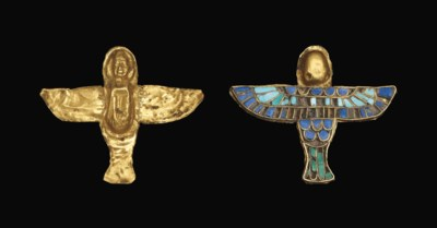AN EGYPTIAN GOLD, TURQUOISE AN