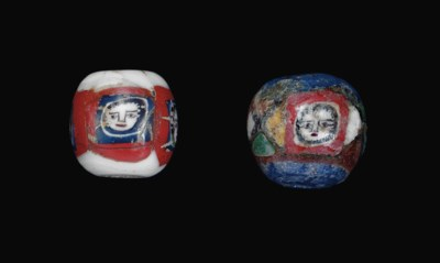 TWO ROMAN MOSAIC GLASS FACE BE